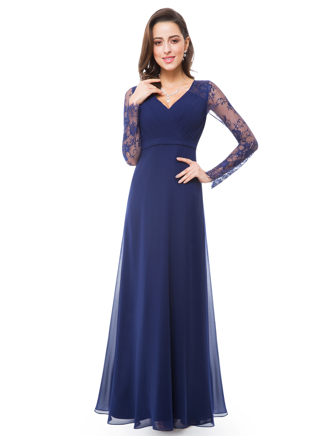 Ever-pretty UK Long Prom Lace Evening Dresses Navy Blue Bridesmaid ...