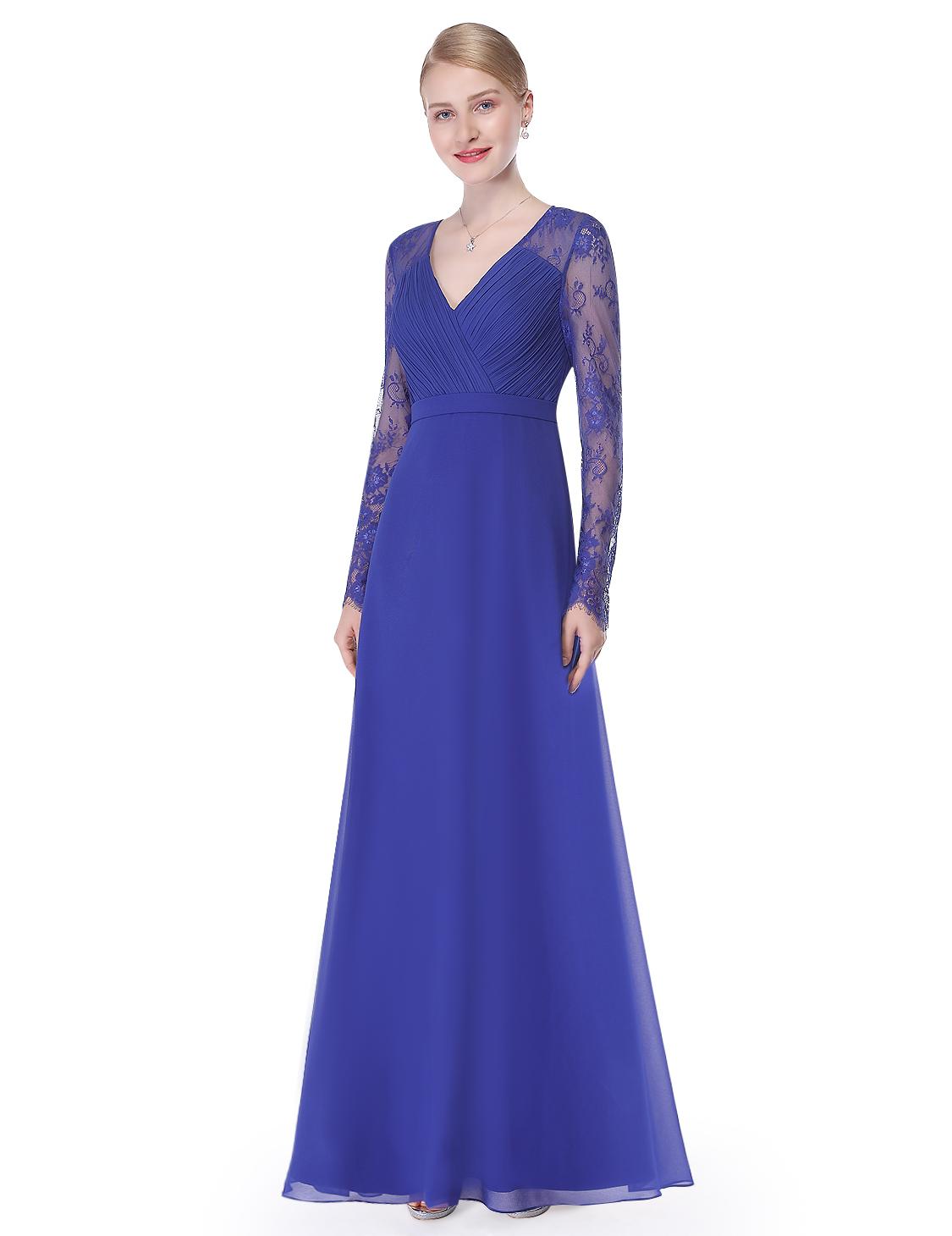 Ever-Pretty Long Sleeve Bridesmaid Wedding Party Dress Maxi Prom ...