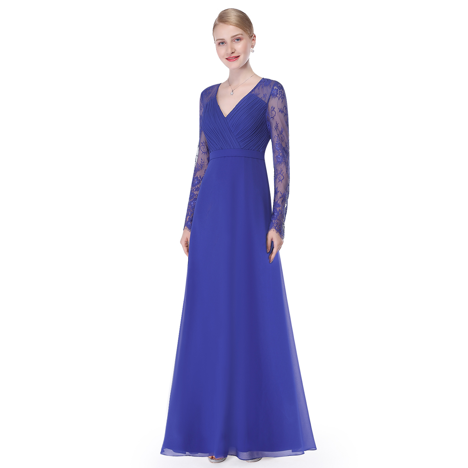 Ever-Pretty Women Long Sleeve Lace Prom Gowns Formal Evening Party ...