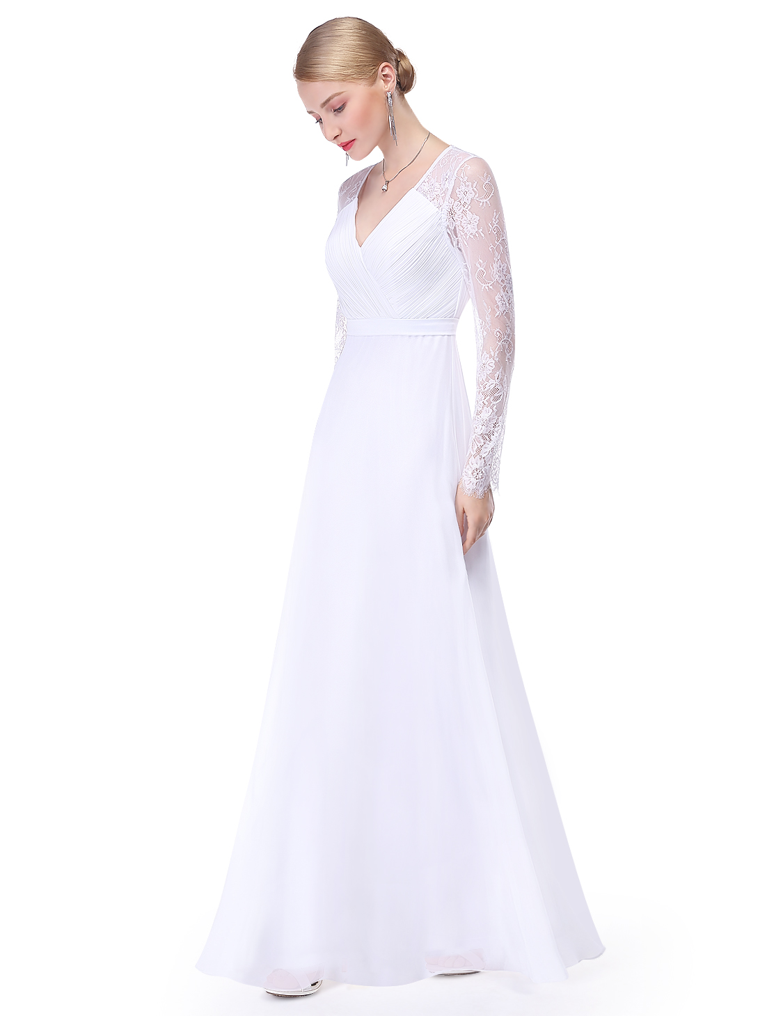 US White Long Chiffon Wedding Dress Bridesmaid Evening Formal Party ...
