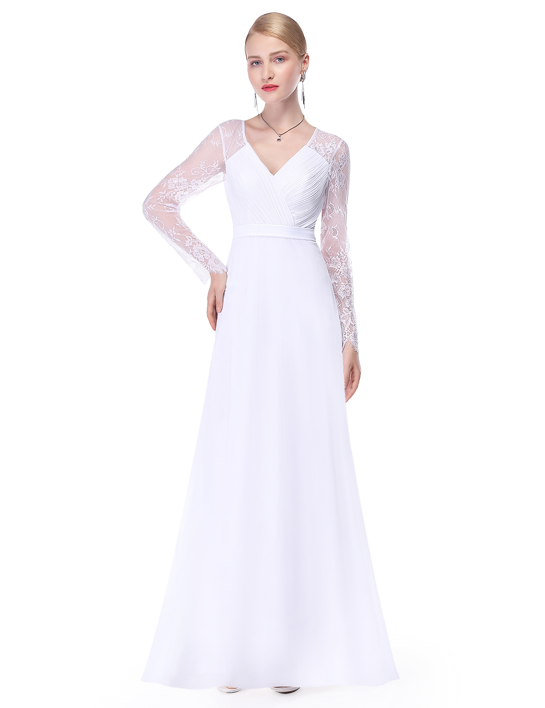 Ever pretty elegant lace long sleeve formal evening gowns for Ever pretty wedding dresses