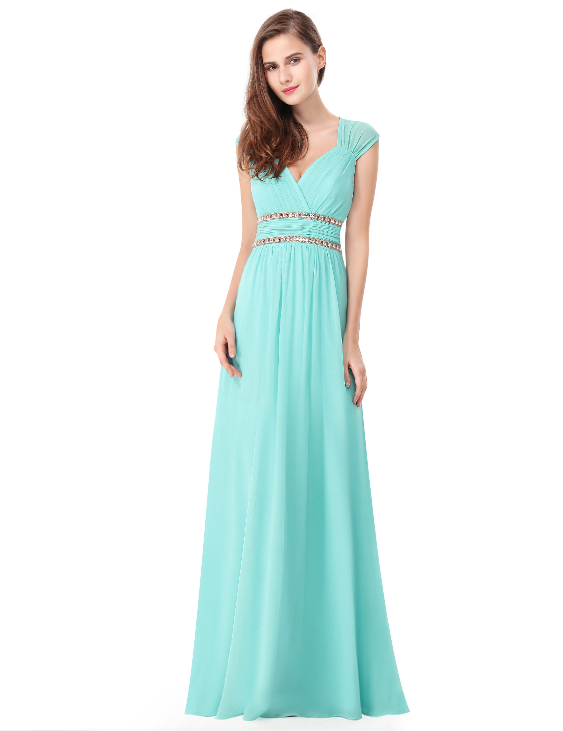Ever Pretty UK Long Evening Gowns Formal V-neck Chiffon Bridesmaid ...