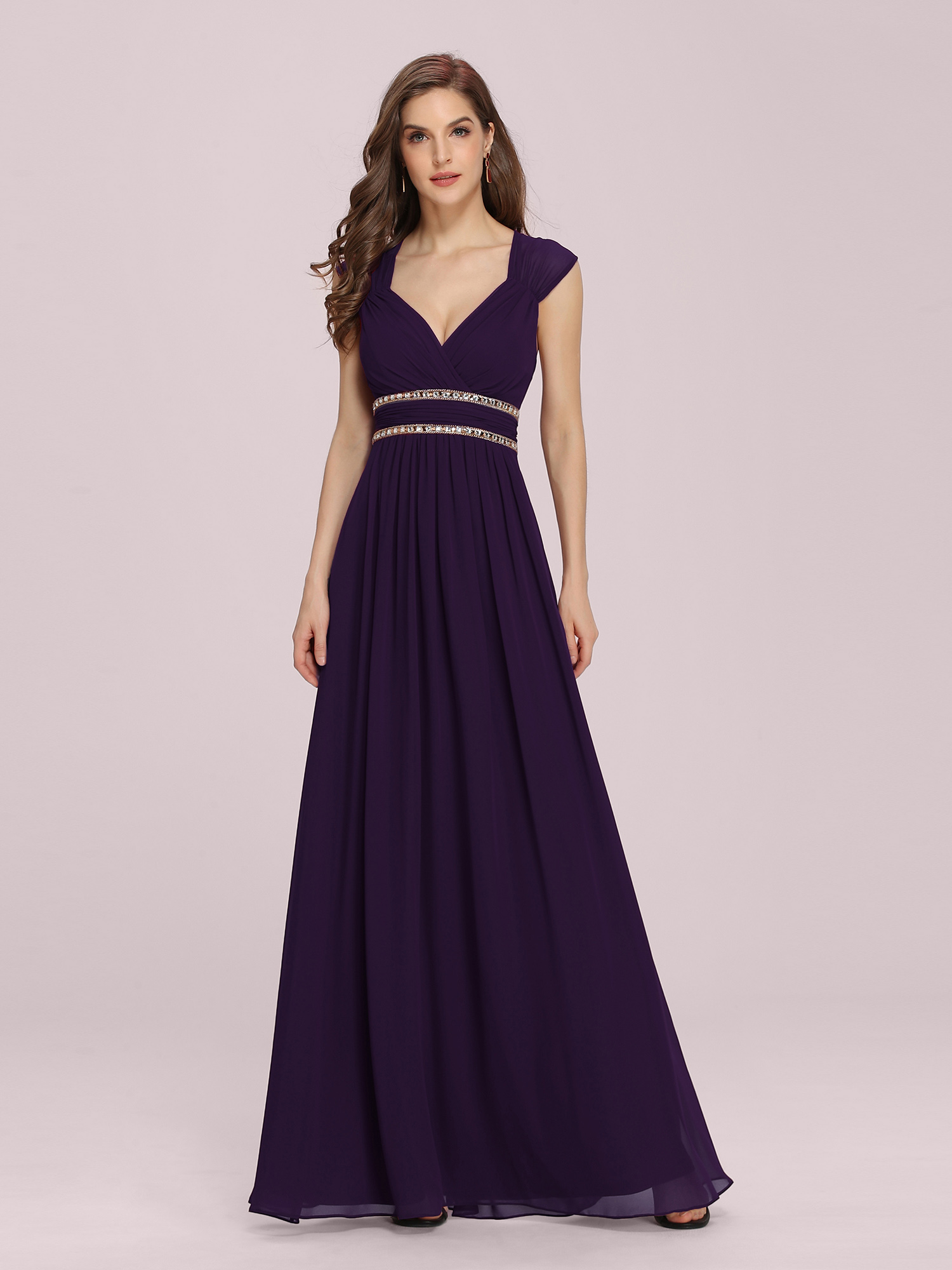 Ever-Pretty Women Beaded V-neck Bridesmaid Wedding Dress Formal Ball ...
