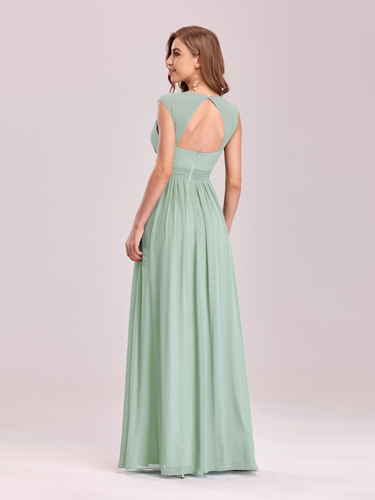 Ever-Pretty Mint Green Evening Dress Long Chiffon Beaded Prom Party ...