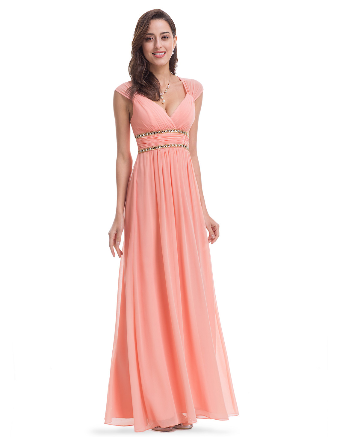 Ever-Pretty US Long Bridesmaid Dress Peach Evening Gowns Party ...