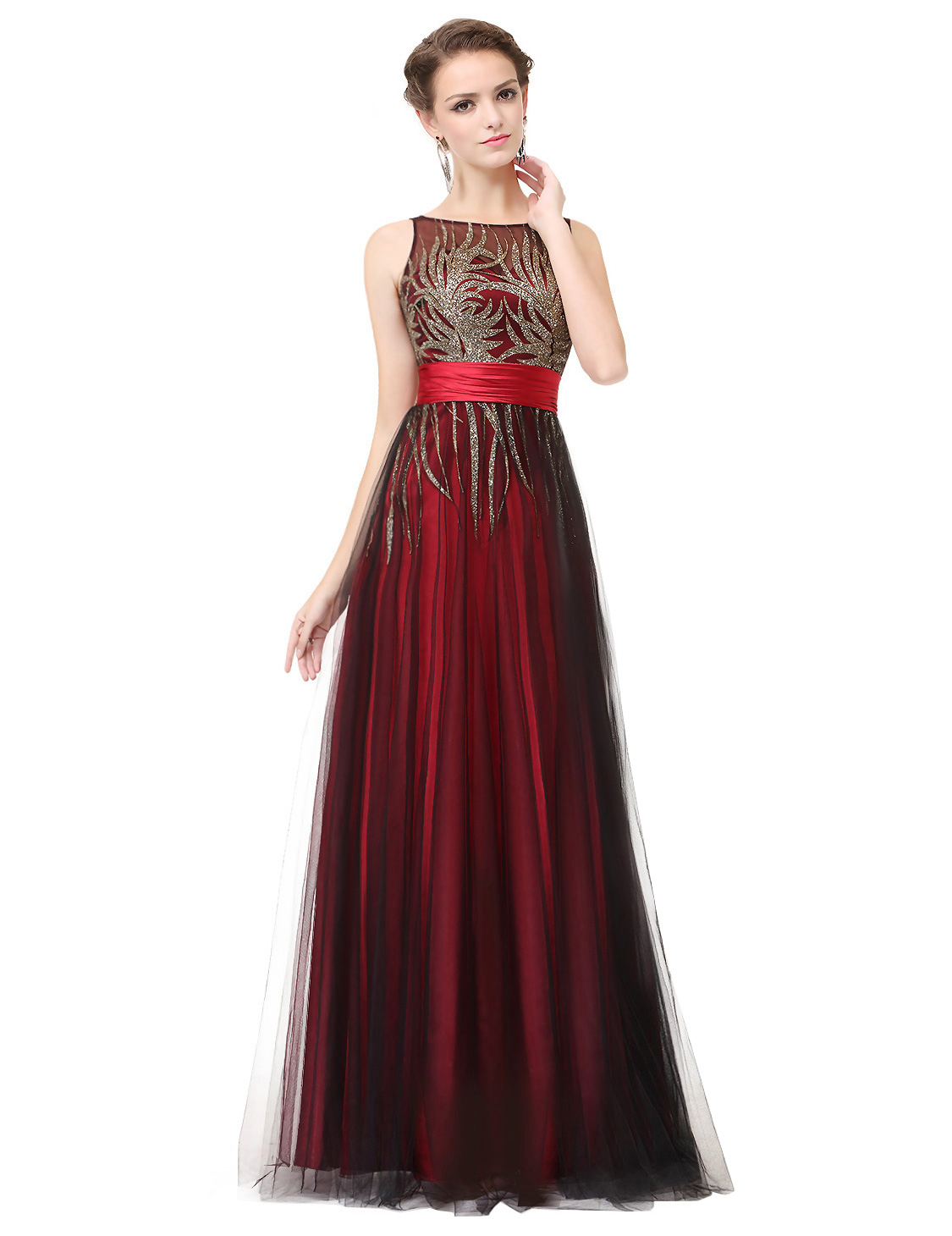 Ever-Pretty US Red Formal Evening Gowns Mesh Tulle Wedding Guest ...