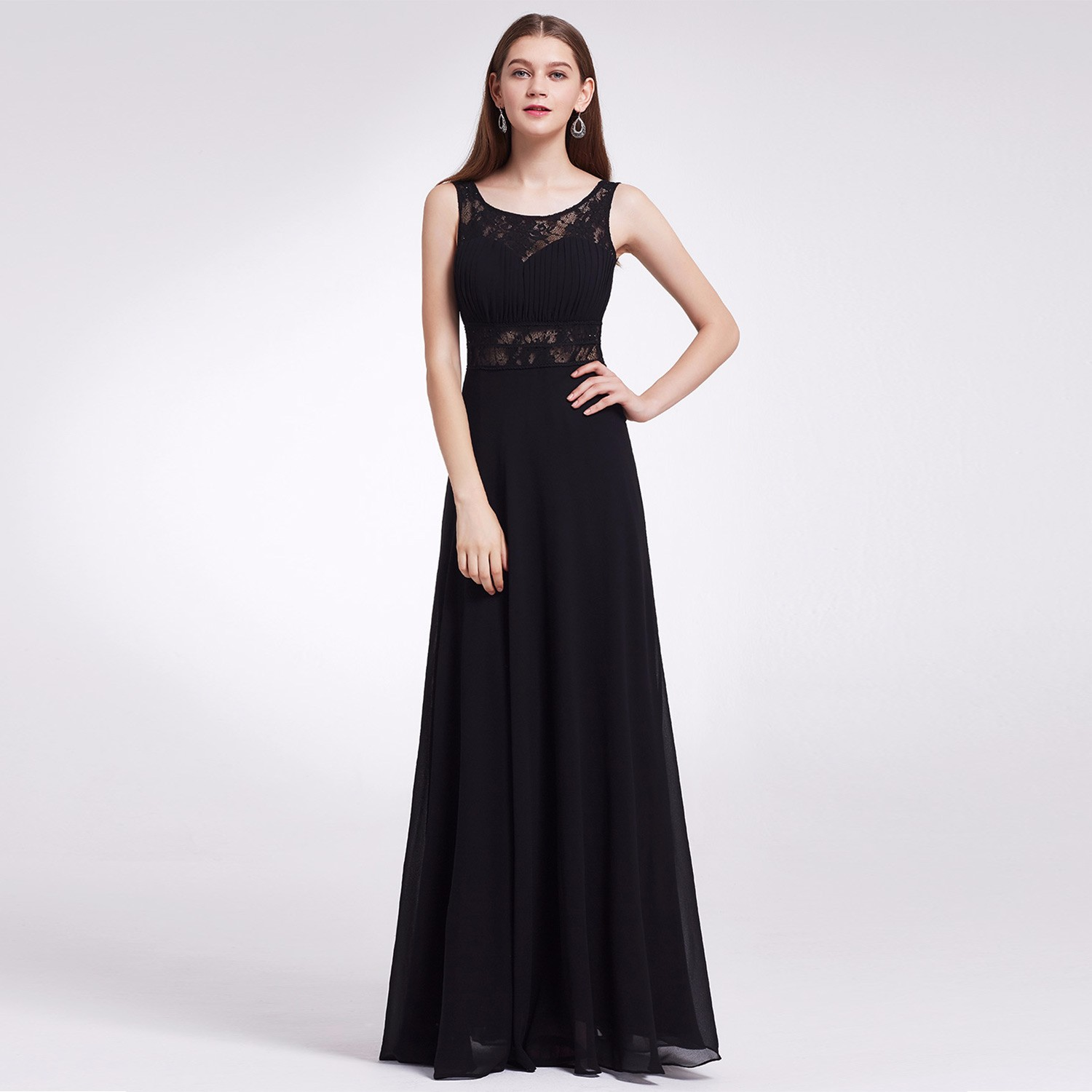 Ever-Pretty Women\'s Black Long Lace Formal Party Dresses Evening ...