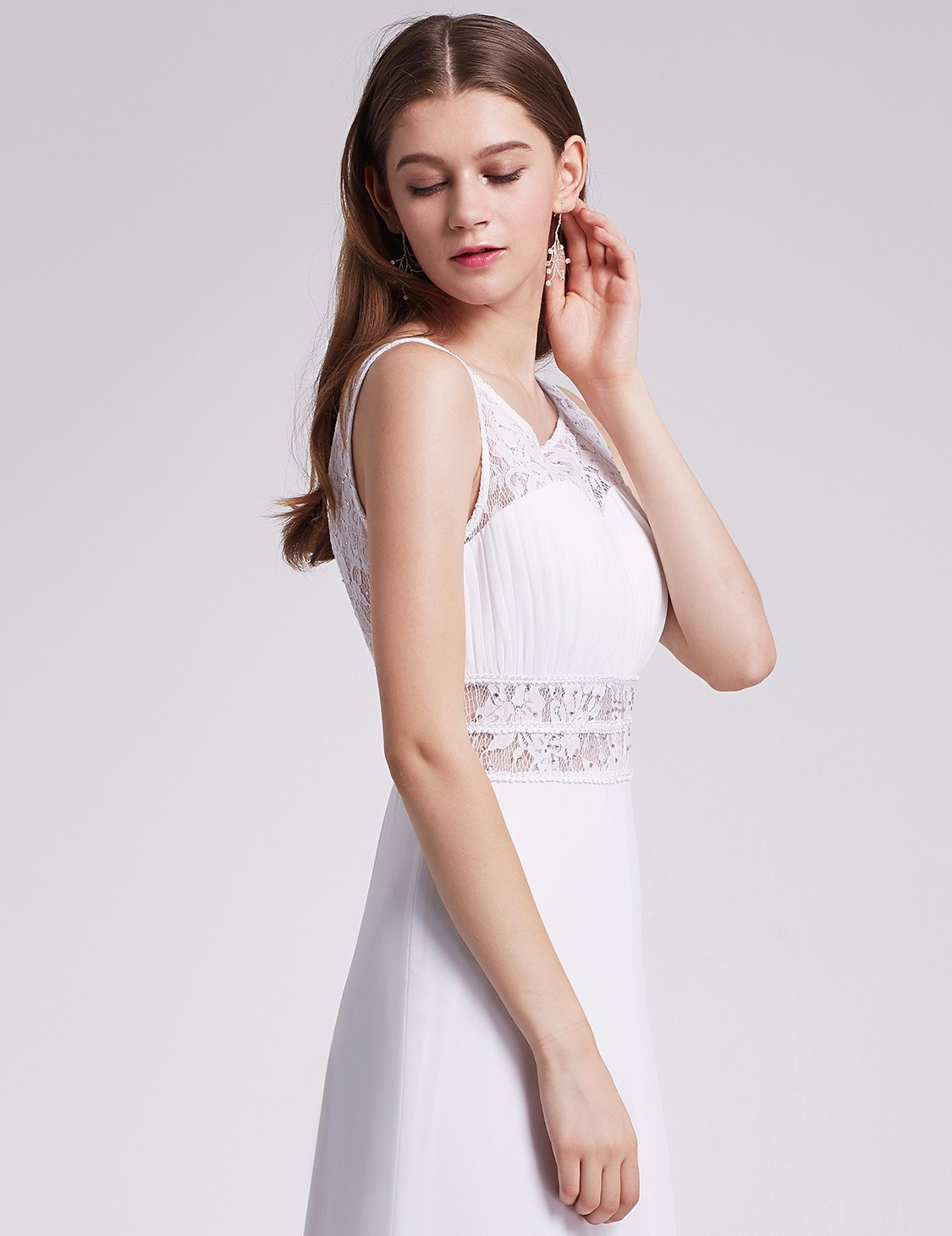 Ever-Pretty Long Sleeveless Wedding Gown White Backless Evening ...