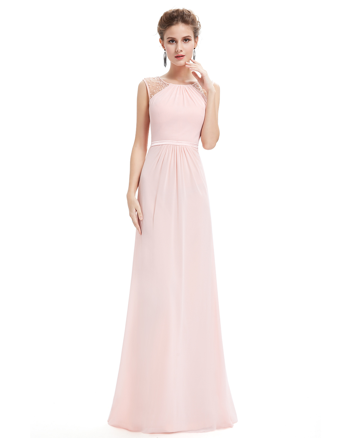 Ever-pretty UK Long Formal Evening Bridesmaid Dresses Pink Wedding ...