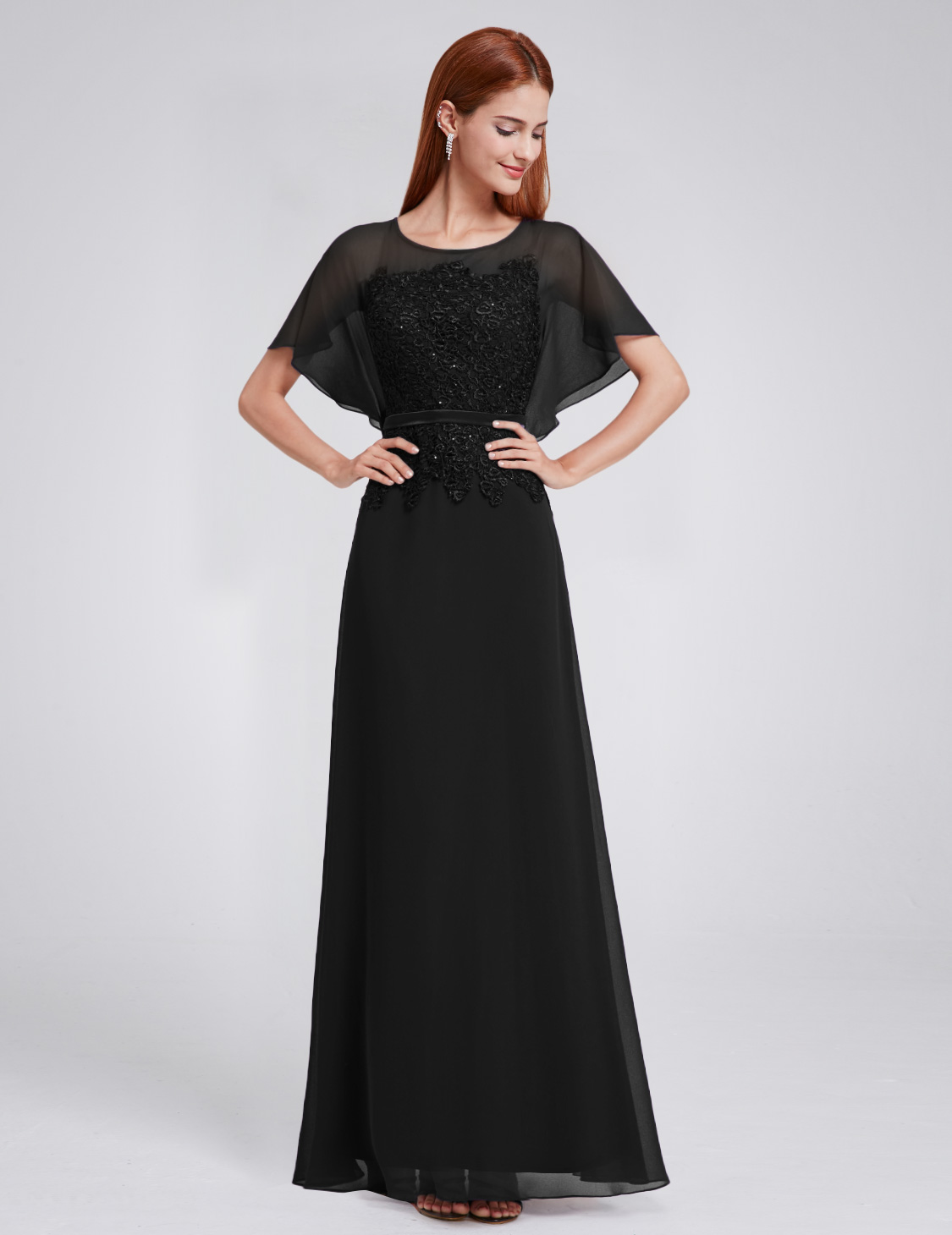 Ever pretty long bridesmaid dress with dolman sleeve for Dolman sleeve wedding dress