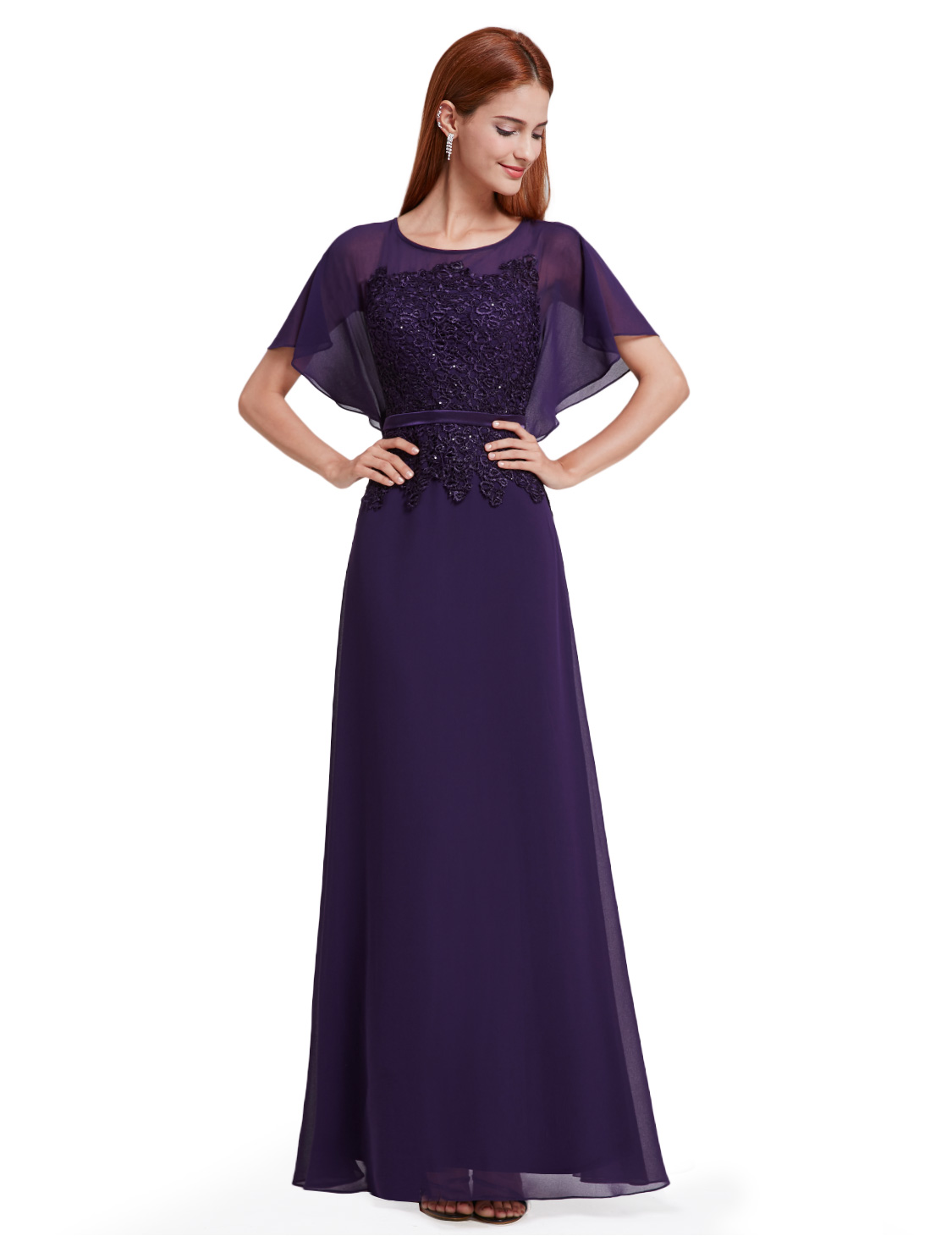 Ever-Pretty US Long Bridesmaid Gowns Chiffon Short Sleeve Evening ...