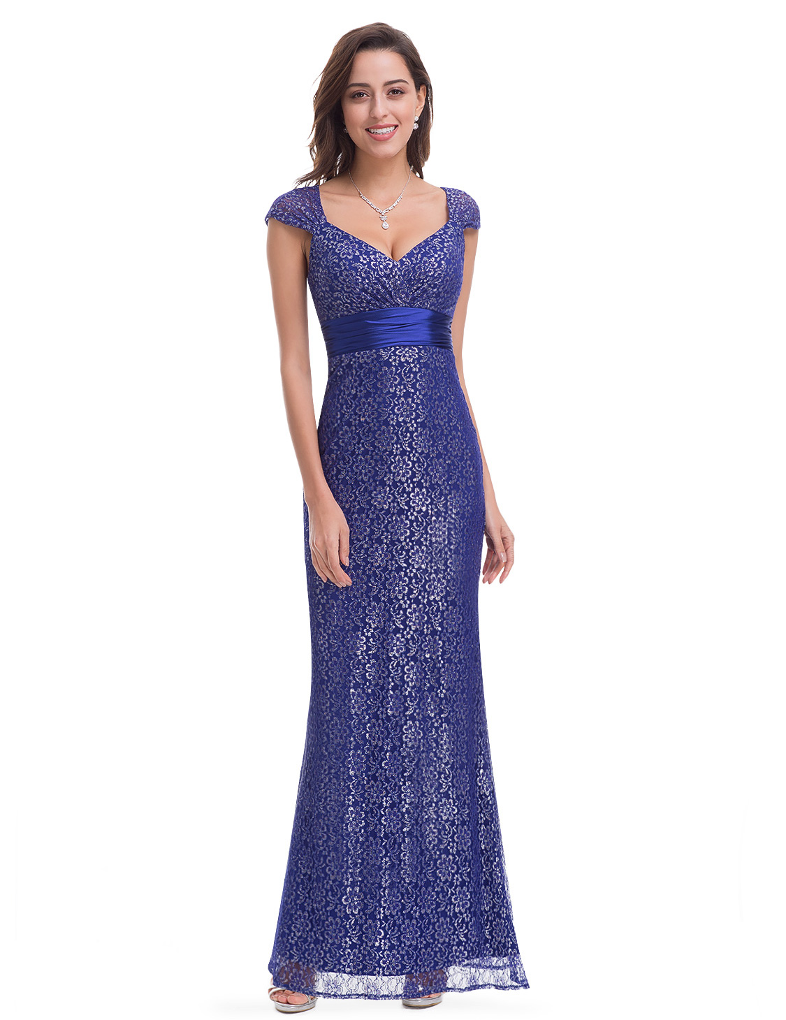 Cap-sleeve Long Evening Dresses Gown Formal Cocktail Prom Ever ...