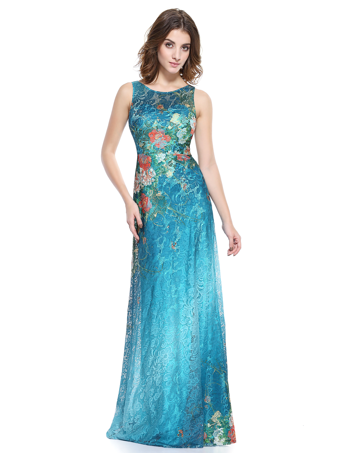 Ever-Pretty US Floral Long Evening Dress Sleeveless Lace Prom Party ...
