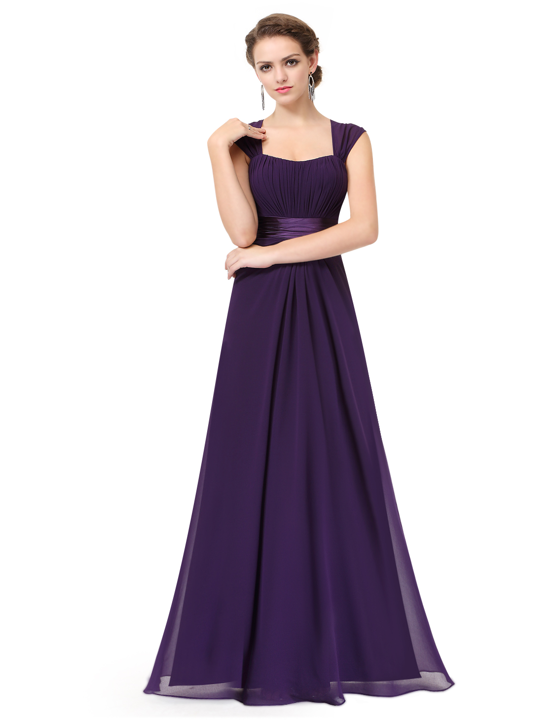 New long chiffon wedding formal evening party ball gown for Pretty ball gown wedding dresses