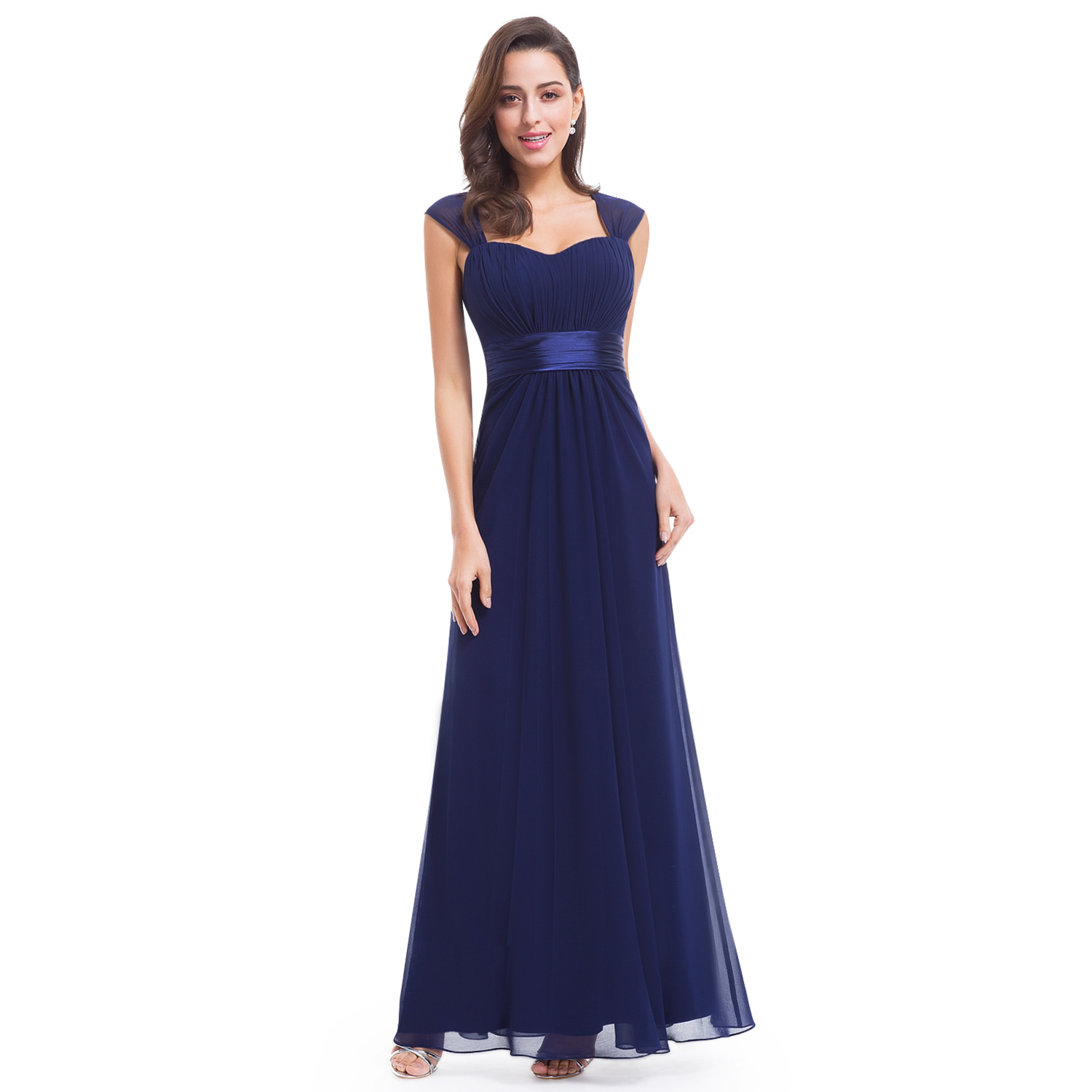 Ever-Pretty Long Bridesmaid Dress Cap Sleeve Prom Party Evening ...