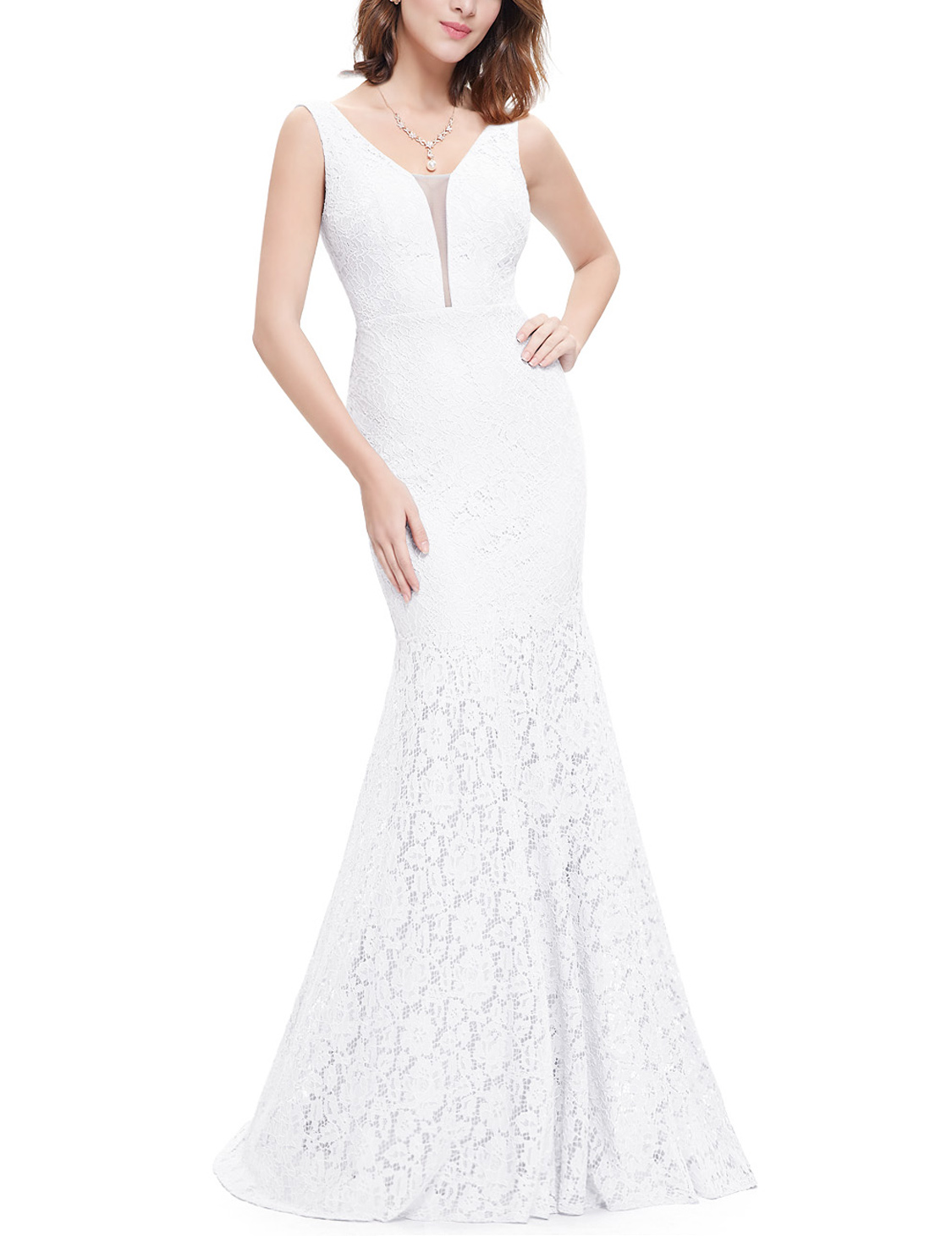 US White Long Lace Mermaid Christmas Evening Party Dresses Ball Prom ...