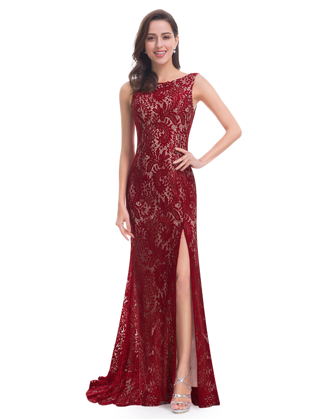 Ever-Pretty Lace Prom Dresses Thigh Split Mermaid Formal Evening ...