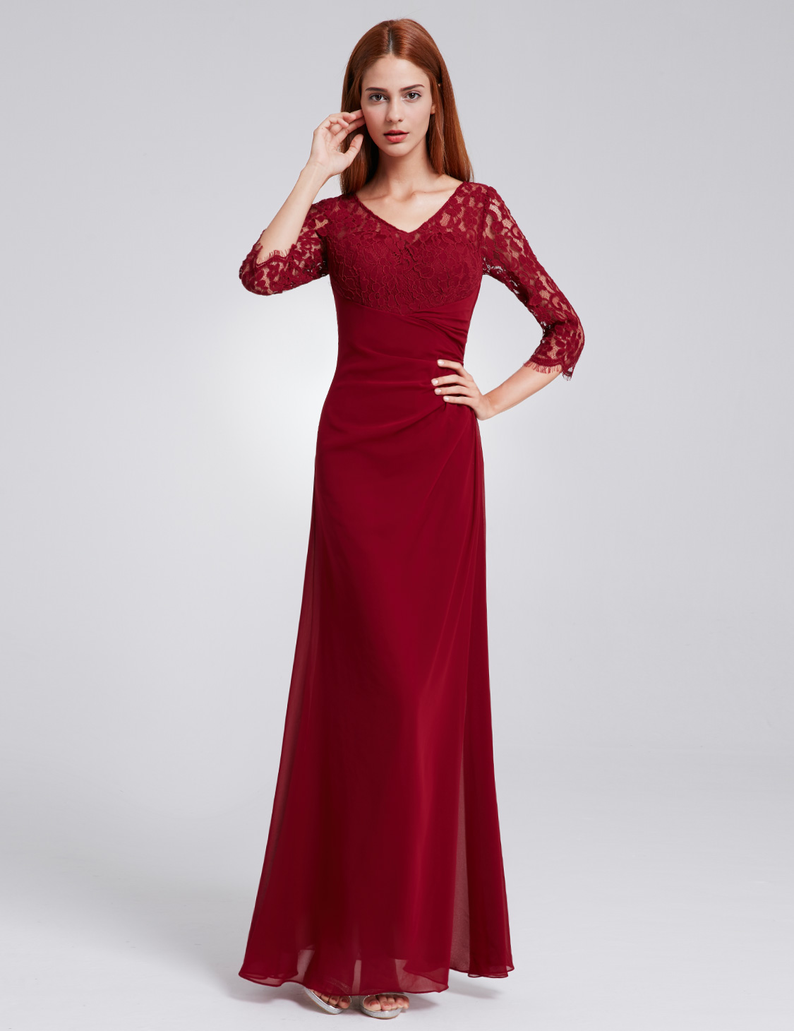 EverPretty Women Formal Long Dresses Lace 3/4 Sleeves V ...