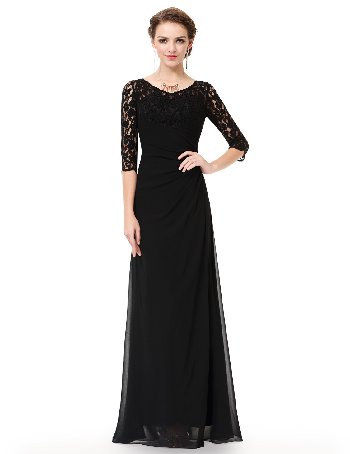 Ever-Pretty Long Lace 3/4 Sleeve Evening Formal Bridesmaid Dresses ...