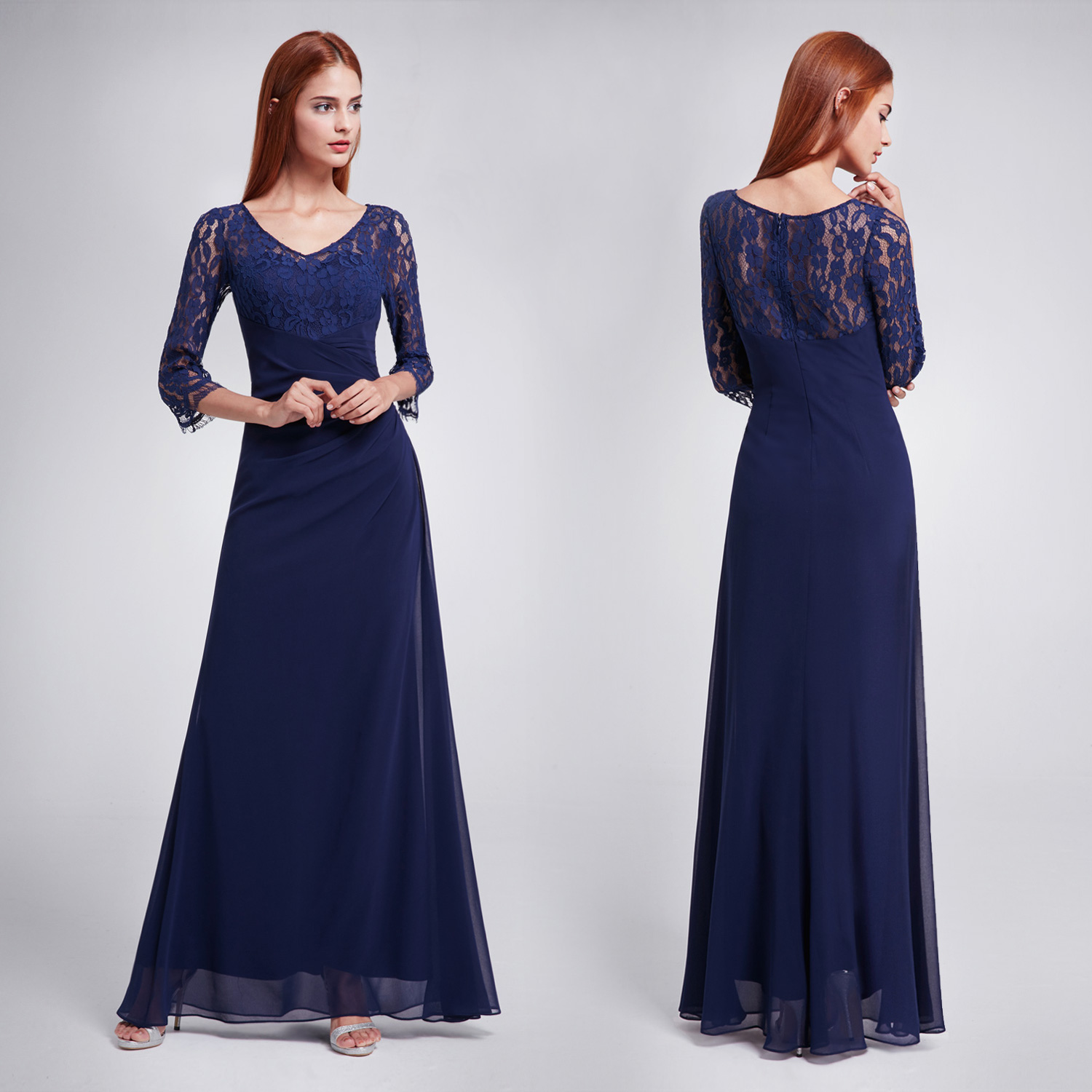 Ever-Pretty US Lace Sleeve Bridesmaid Dresses Elegant Long Evening ...