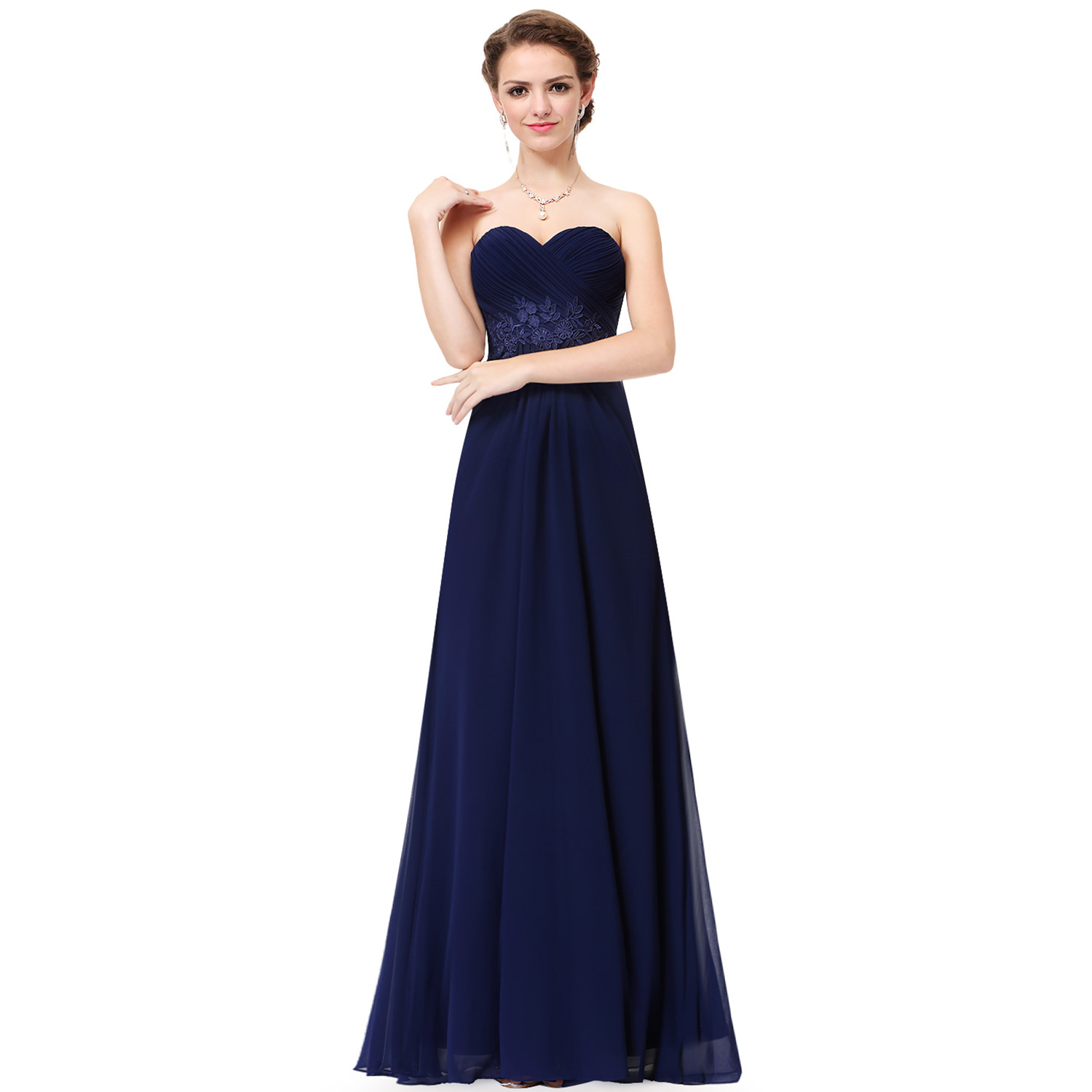 Women 39 s navy blue long evening party wedding bridesmaid for Long navy dress for wedding