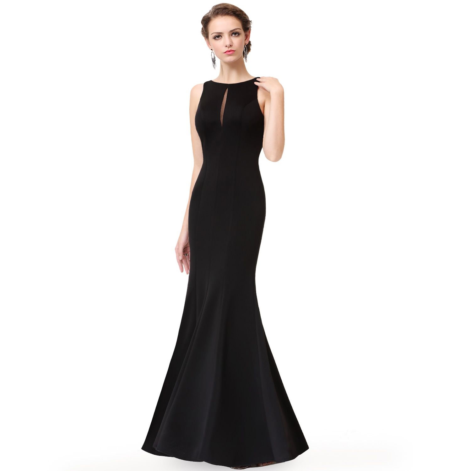 Ever-Pretty Long Evening Dresses Backless Black Bridesmaid Formal ...