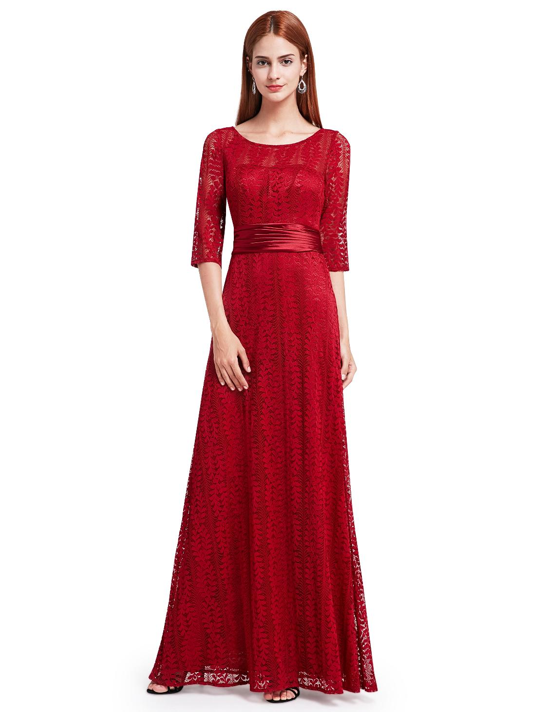Ever-Pretty Long Sleeve Lace Bridesmaid Dresses Wedding ...