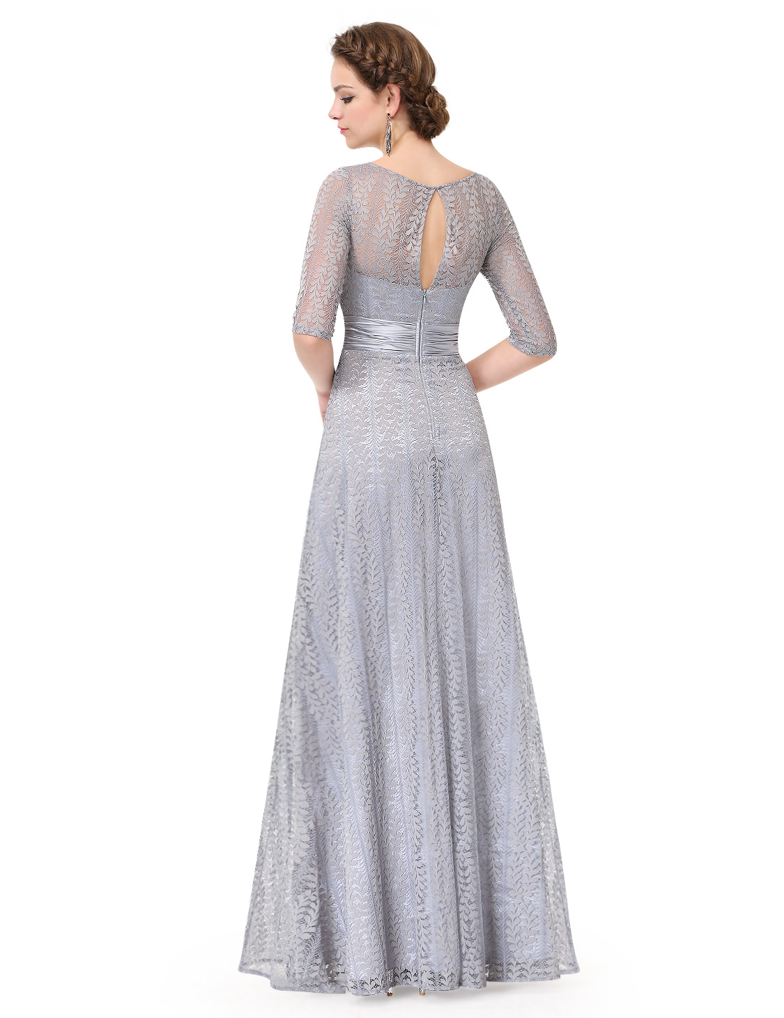 Ever-Pretty Gray Evening Prom Ball Gowns Half Sleeve Lace Bridesmaid ...
