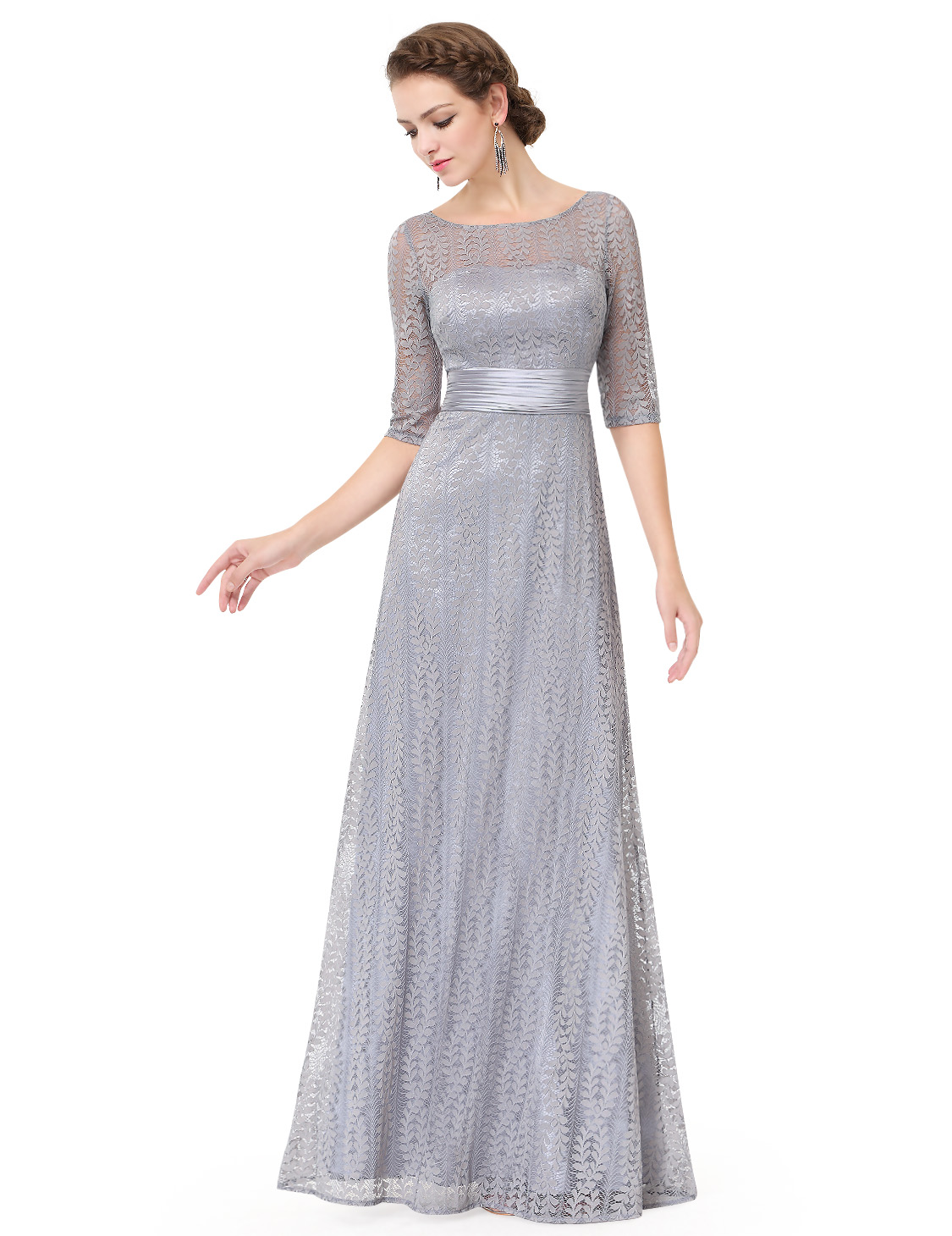 Ever pretty long lace evening dress lady mother of bride for Evening gown as wedding dress