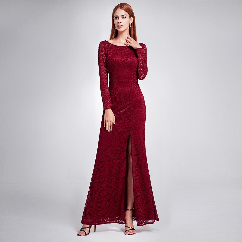 Ever-Pretty Lace Evening Prom Dress Split Long Sleeve Bridesmaid ...