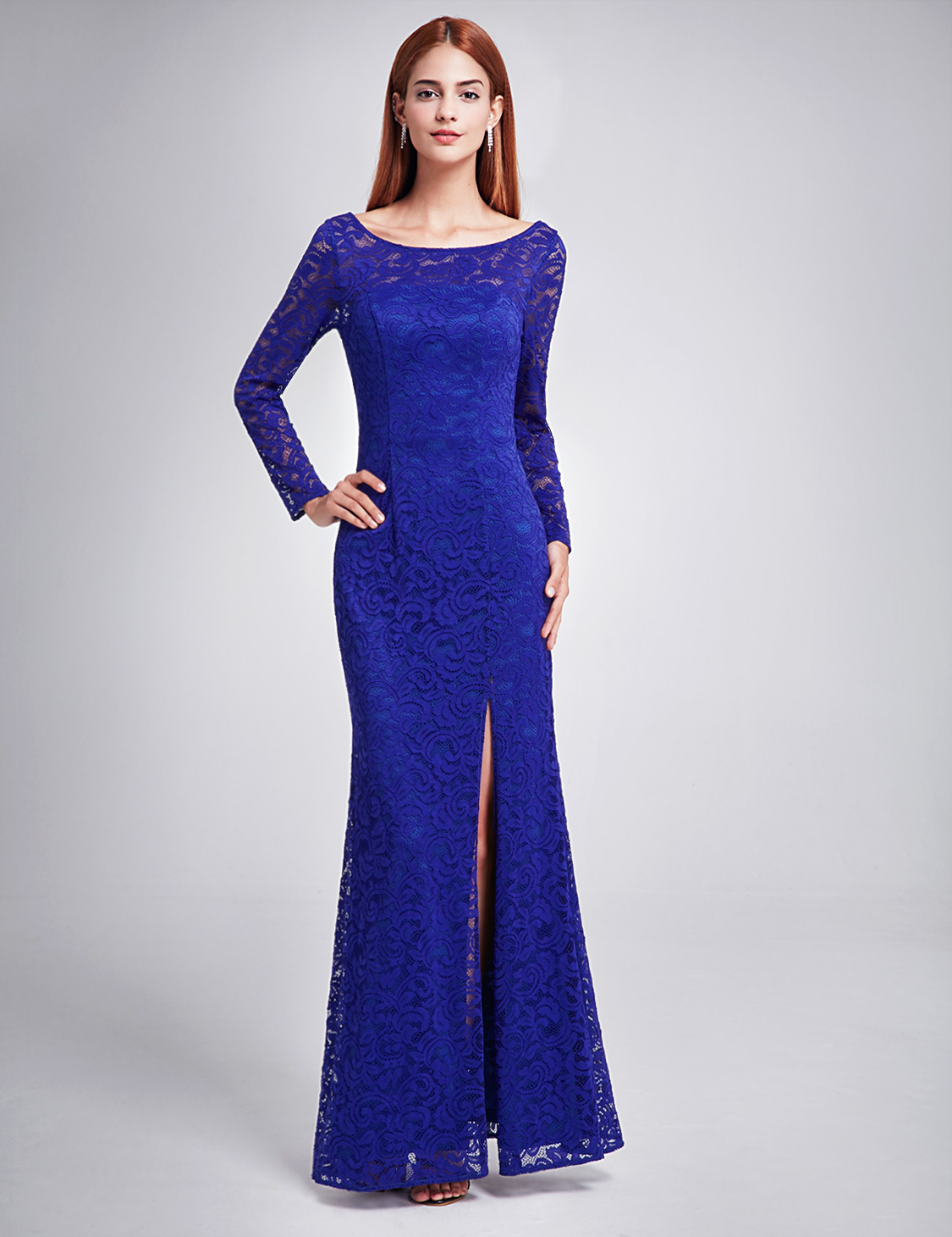Ever-Pretty Long Lace Sleeve Formal Dresses Evening Gowns Cocktail ...