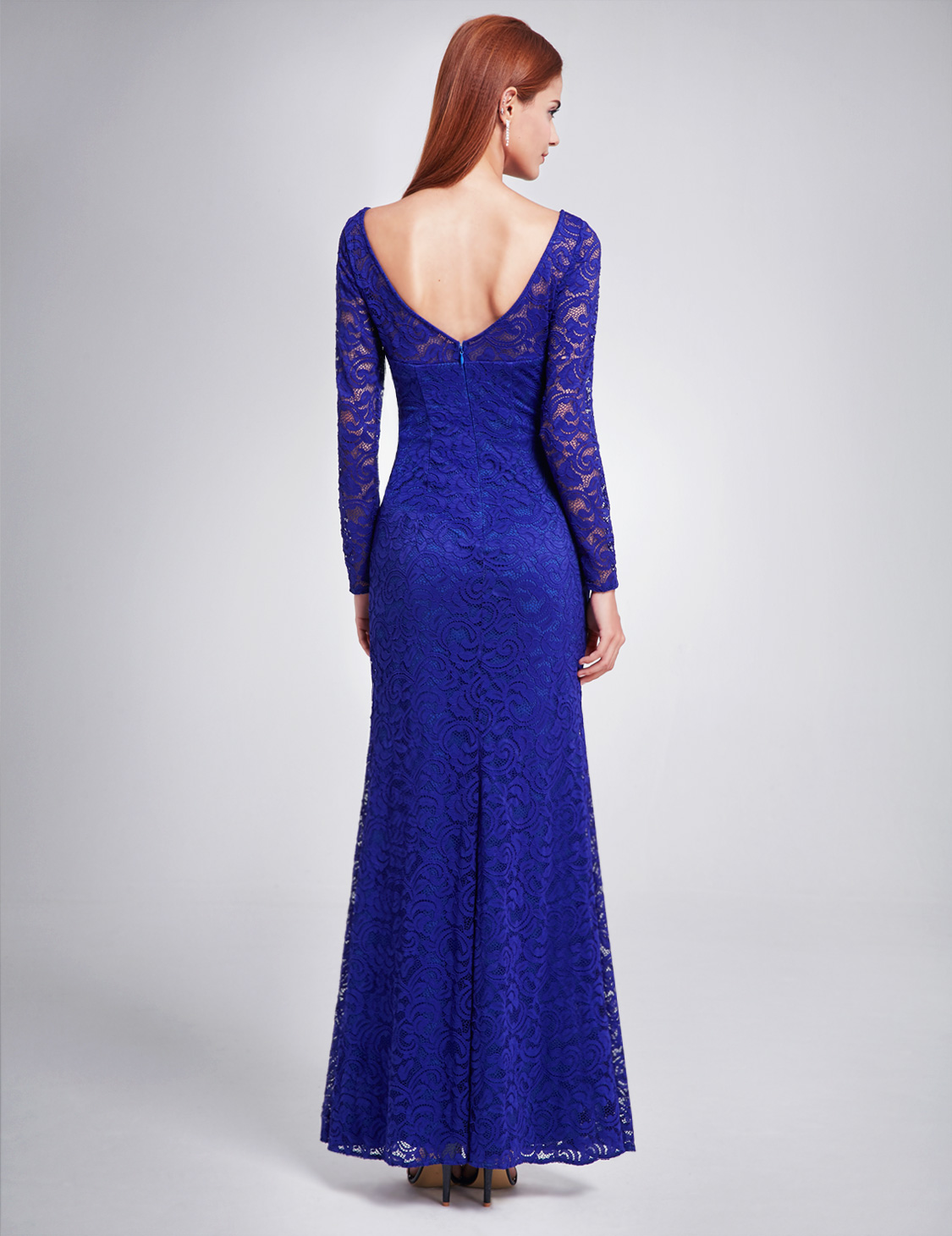 Ever-Pretty Lace Evening Prom Dress Split Long Sleeve Bridesmaid ...