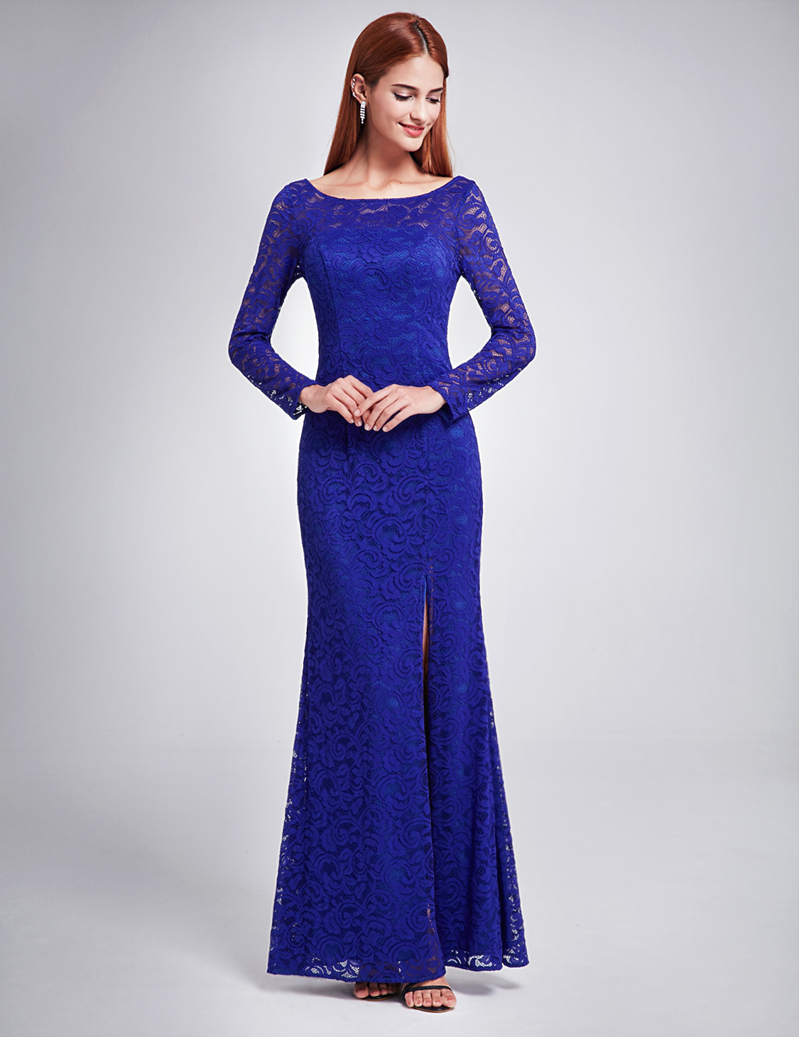 Ever-Pretty Formal Long Lace Sleeve Evening Formal Gowns Cocktail ...