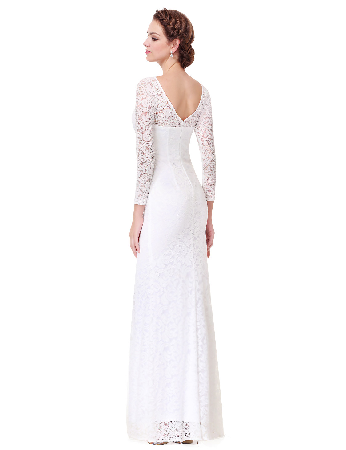 Long sleeve white wedding bridesmaid dress evening party for Ever pretty wedding dresses