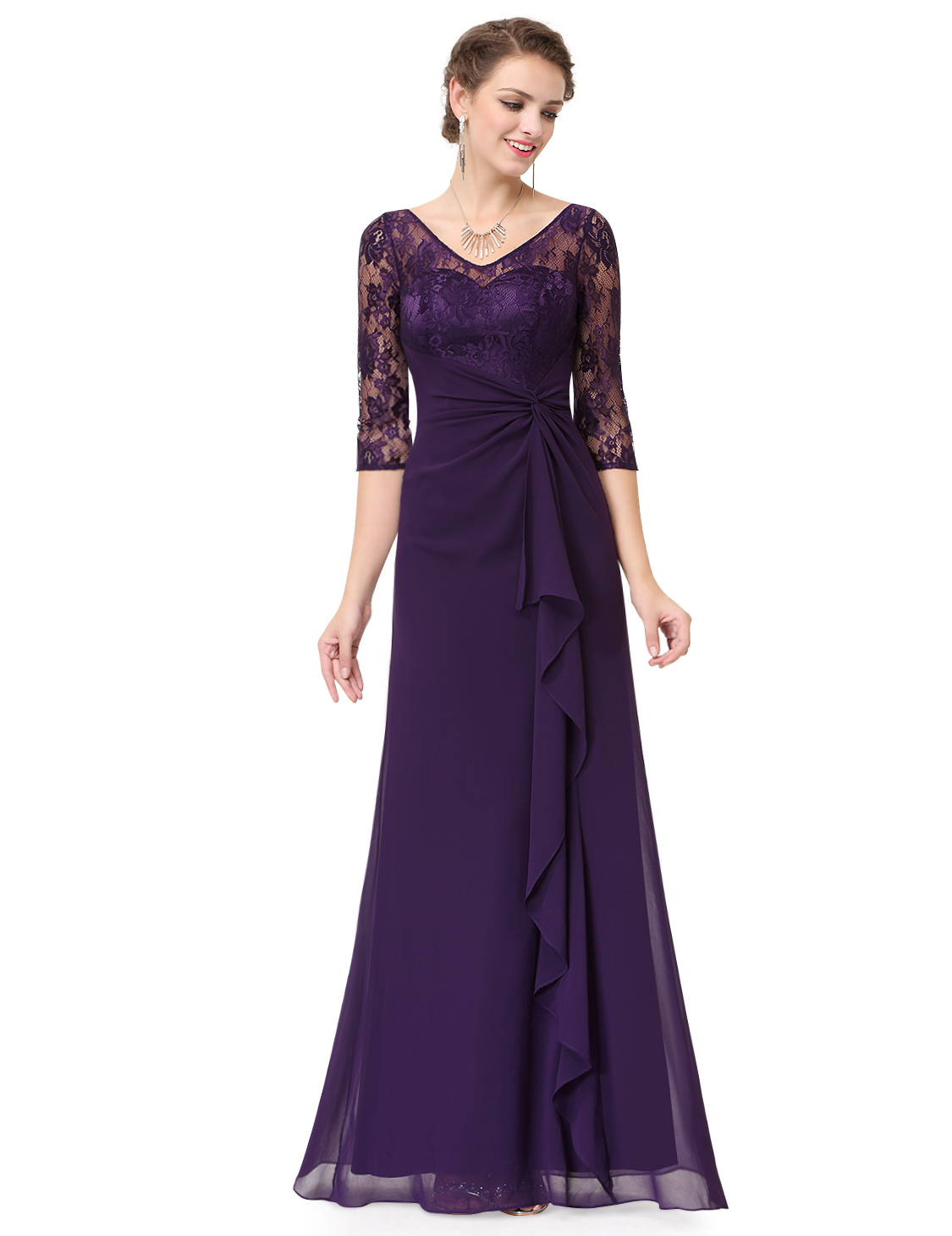 Ever Pretty Long Dark Purple Bridesmaid Dresses Evening Lace Party ...