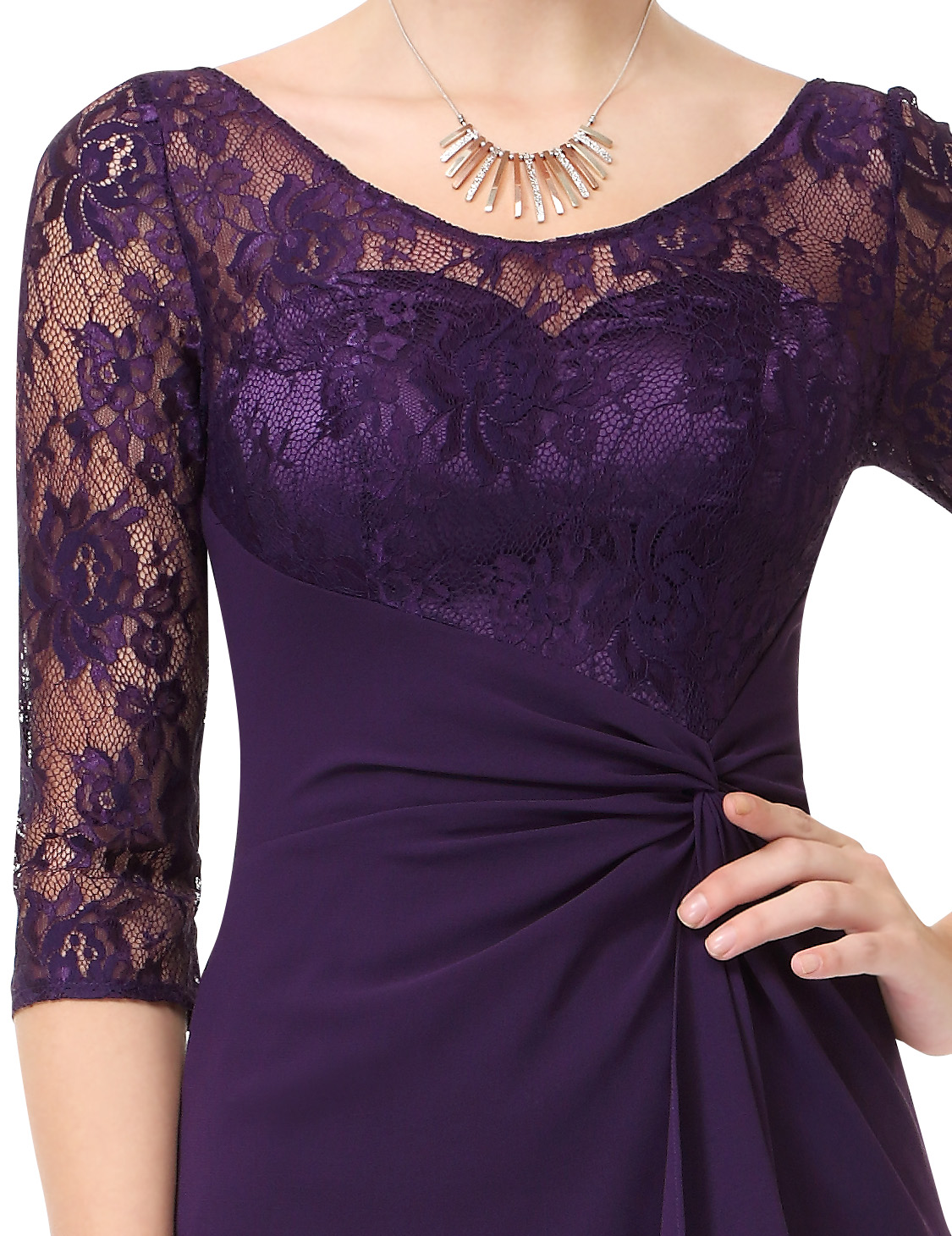 Ever Pretty Long Dark Purple Bridesmaid Dresses Evening Lace Party ...
