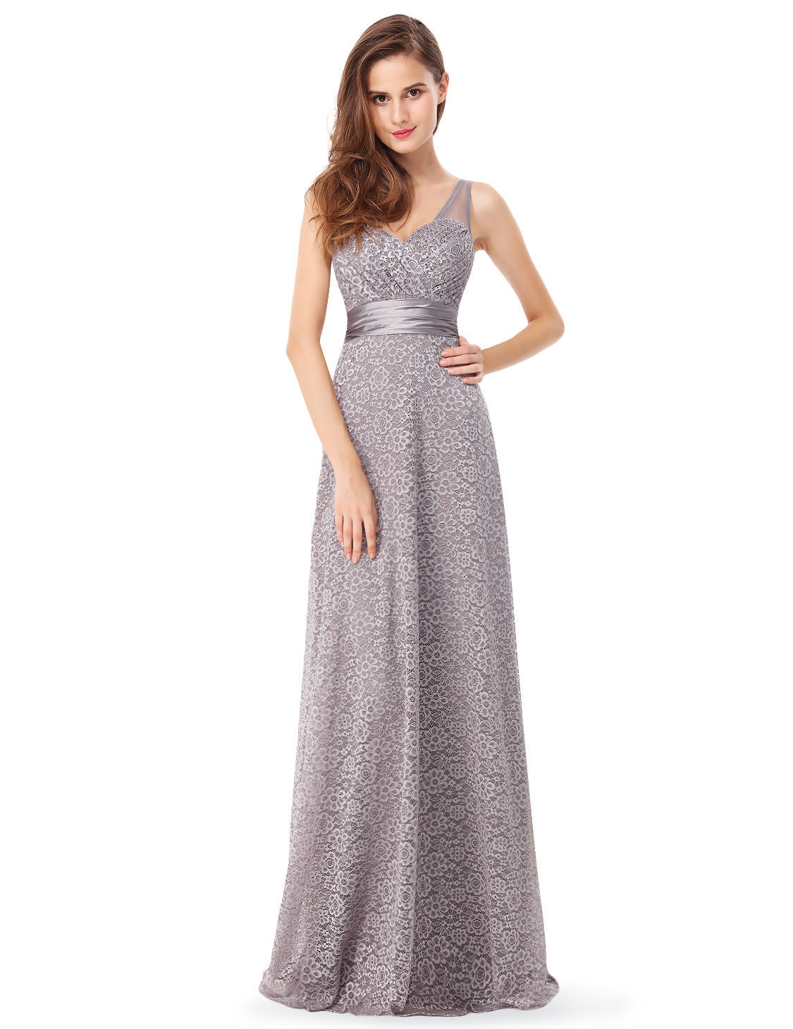Ever-pretty UK Long Bridesmaid Dresses Lace Backless V-neck Evening ...