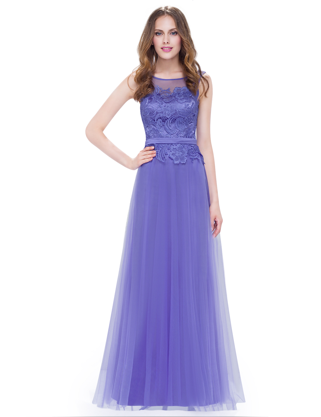 Ever-Pretty Long Bridesmaid Dress Mesh Tulle Periwinkle Prom Evening ...