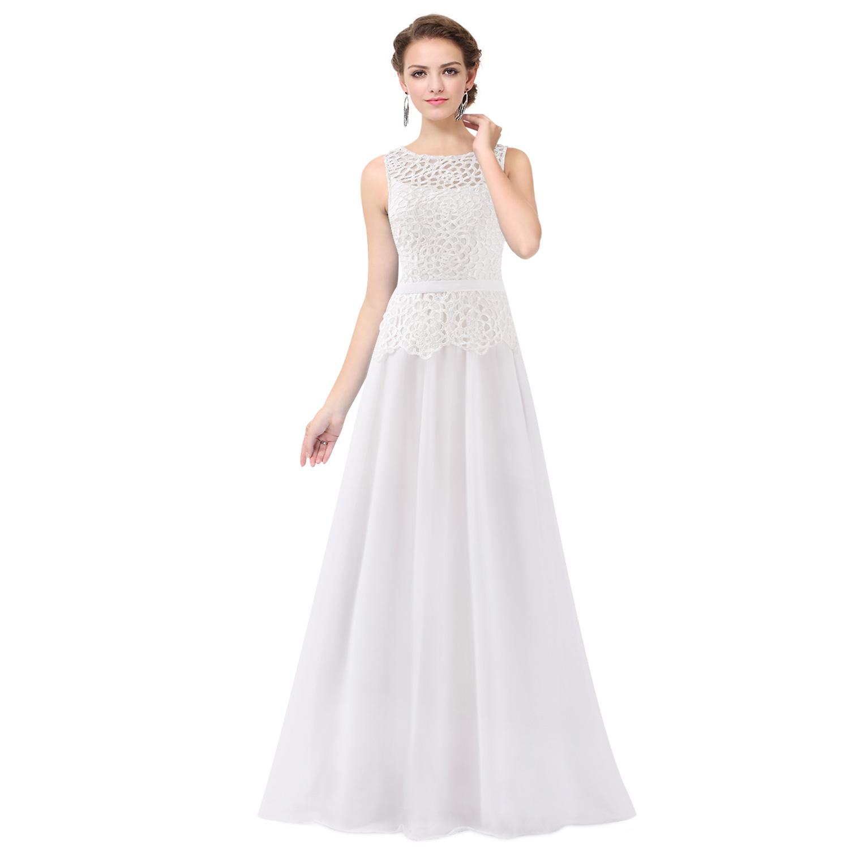 Ever-Pretty Long Bridesmaid Dress Cream Wedding Evening Ball Prom ...