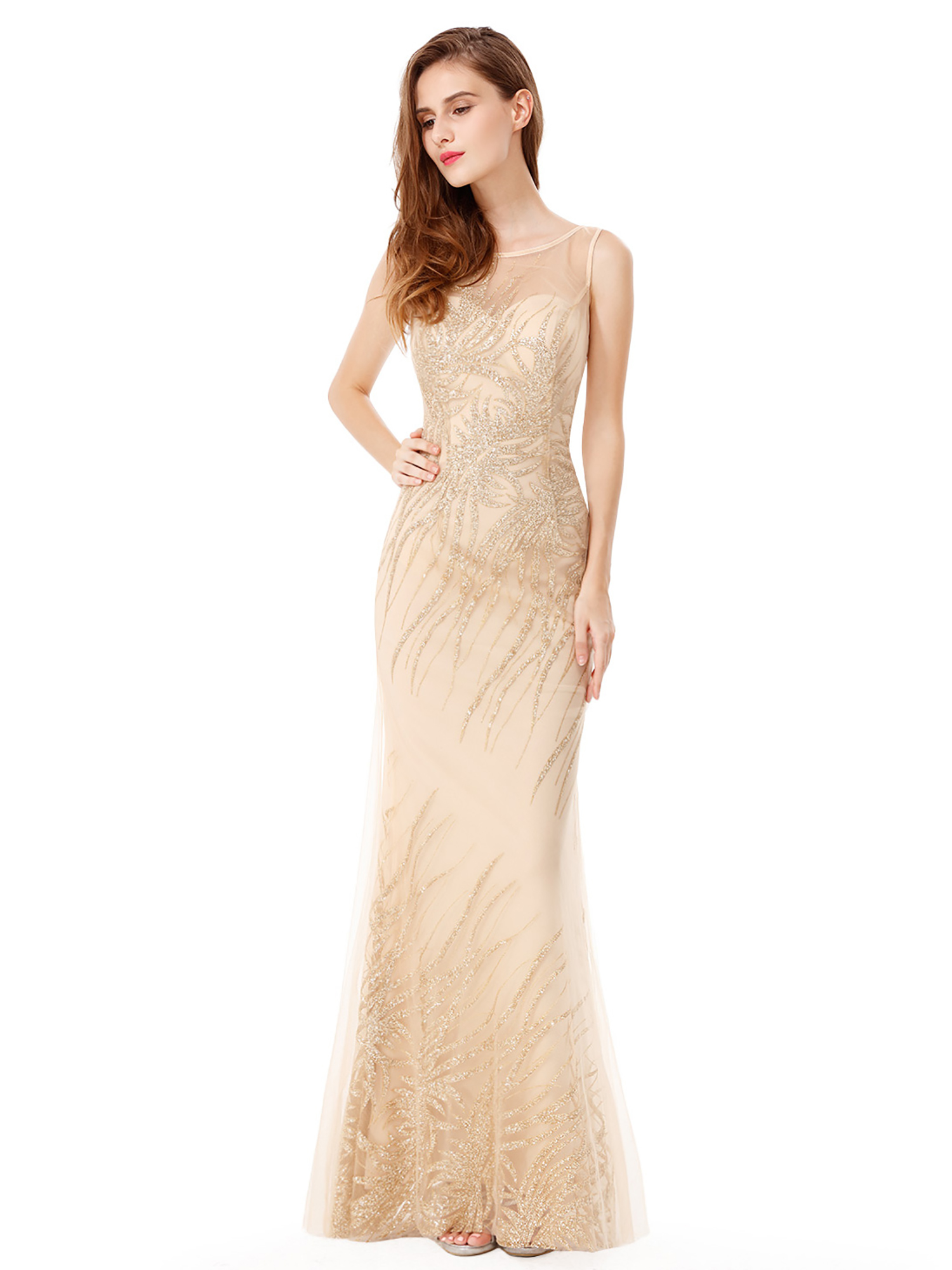 16c4fb576bd Details about UK Ever-Pretty Gold Sequin Sparkly Long Evening Dress Elegant  Formal Gown 08929