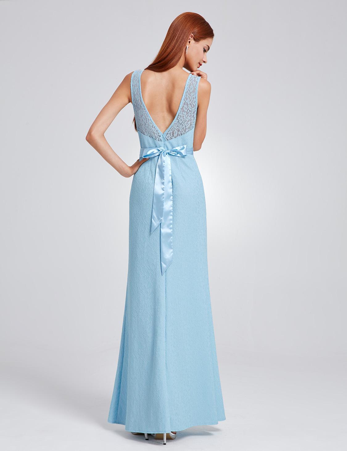 Ever-Pretty Blue Bridesmaid Dress Long Lace Formal Dresses Evening ...