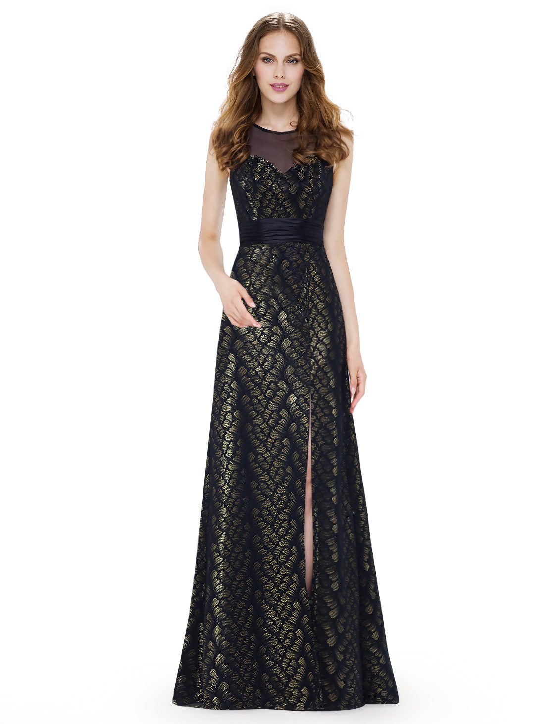 Ever Pretty Split Prom Dresses Printed Formal Evening Gowns Party