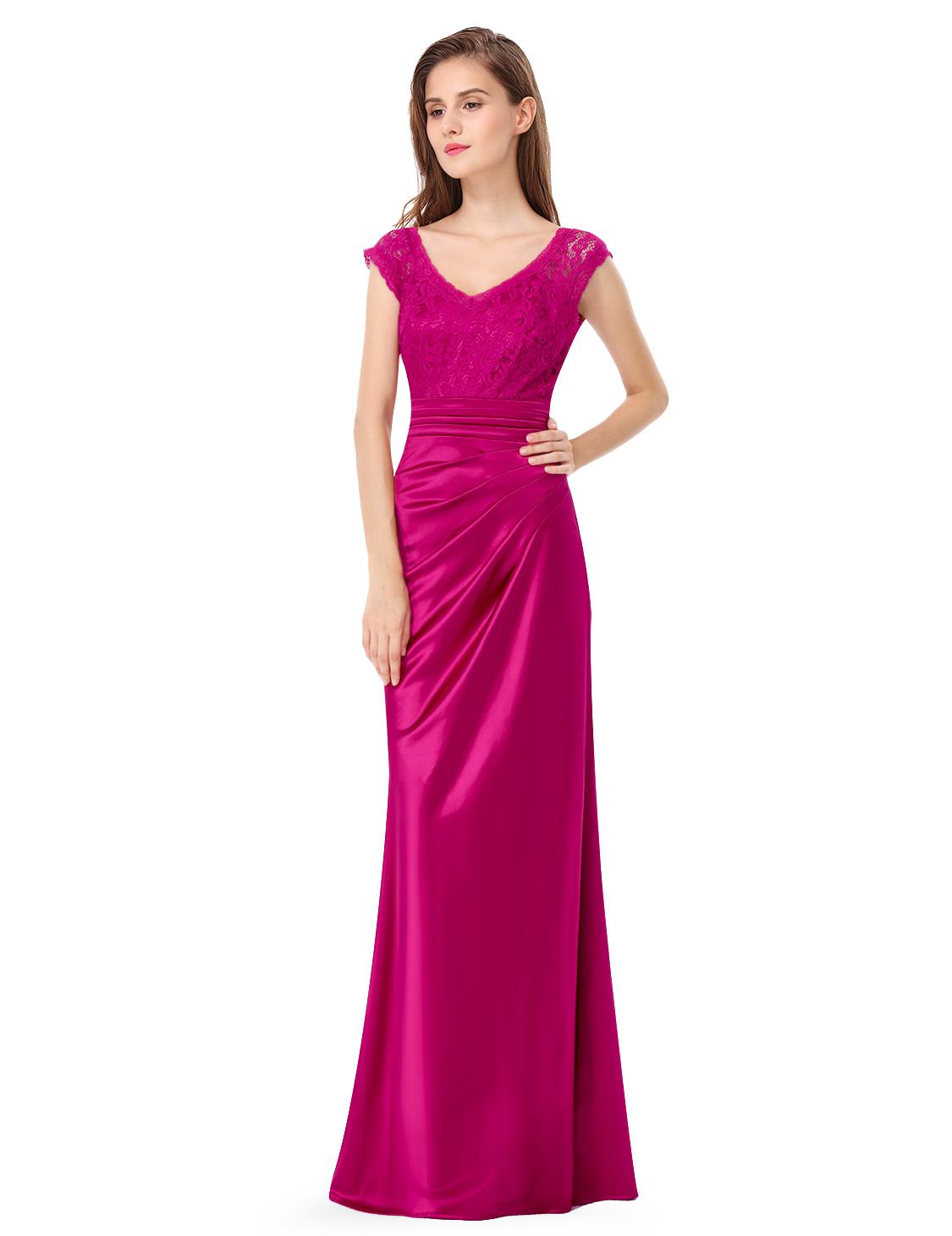 Womens hot pink bridesmaid dresses v neck formal evening prom ball womens hot pink bridesmaid dresses v neck formal ombrellifo Image collections