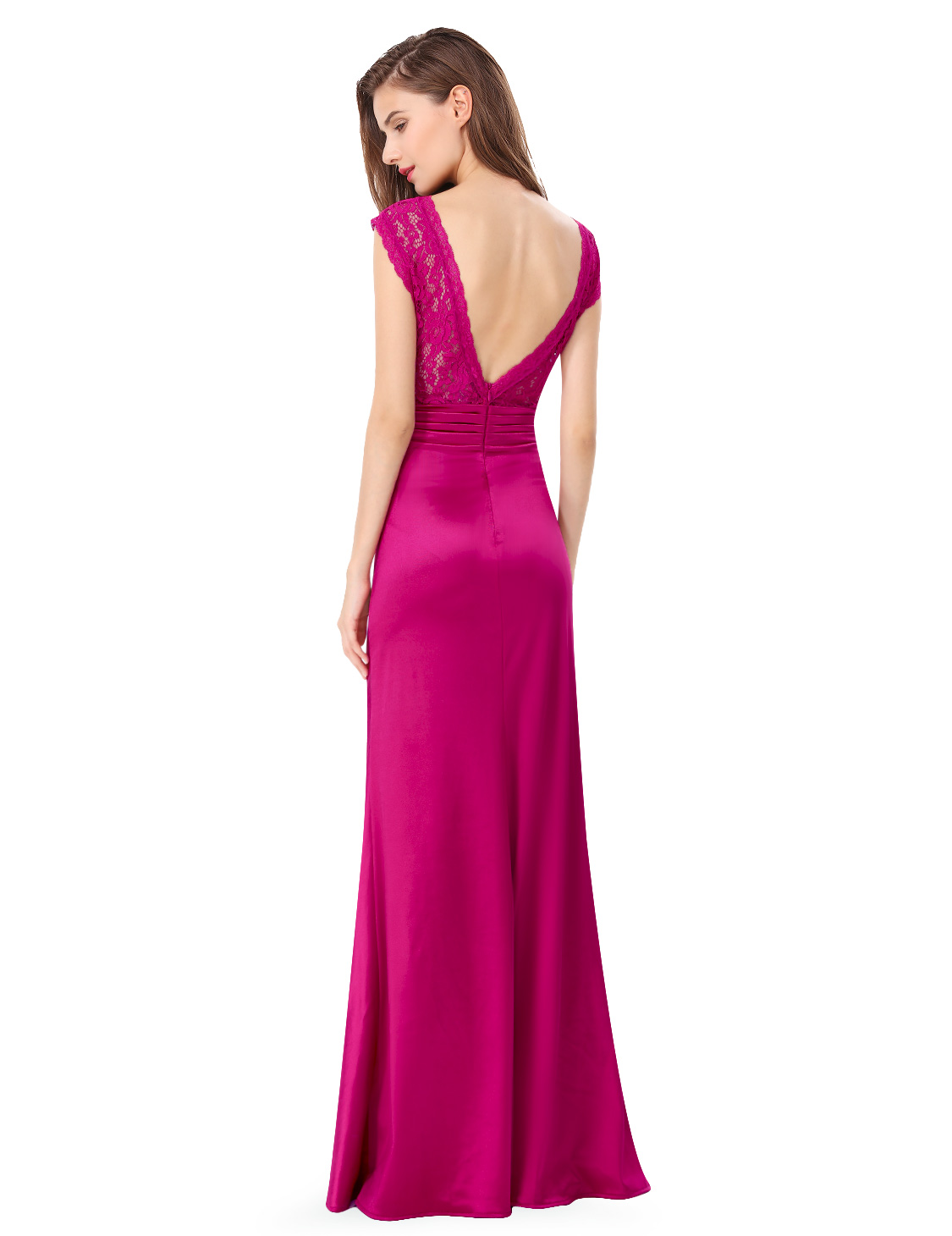 Ever-Pretty Long V-neck Prom Gown Lace Backless Cocktail Evening ...