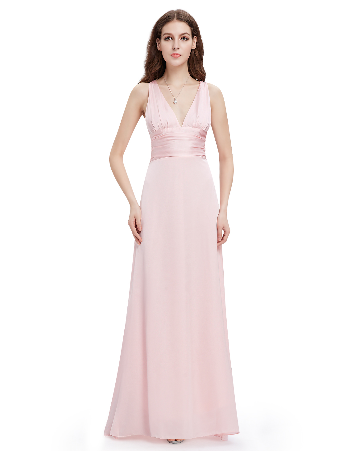 Ever pretty long pink bridesmaid wedding dresses v neck for V neck wedding dresses australia