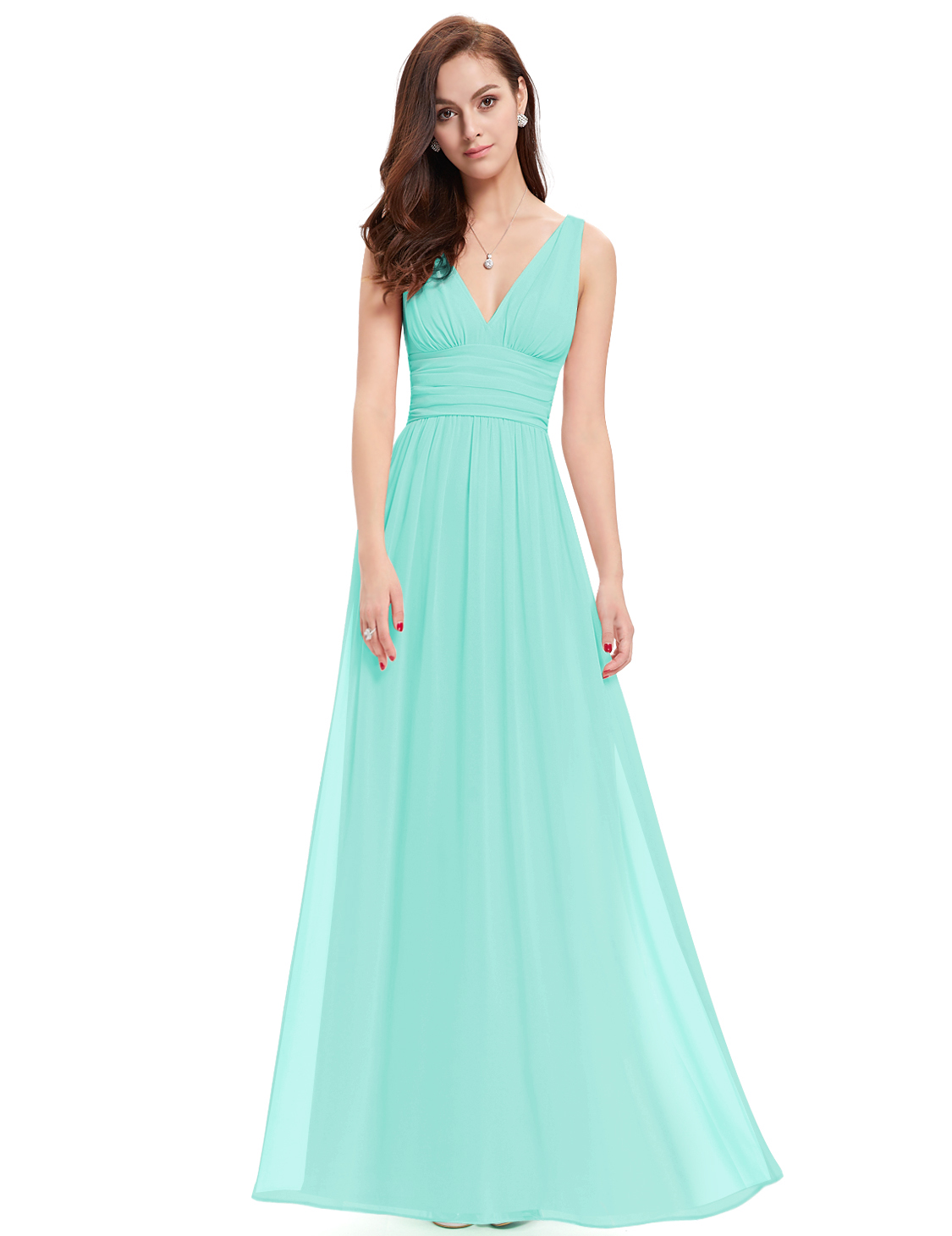 Ever-Pretty Bridesmaid Dresses V-Neck Aqua Long Formal Ball Prom ...