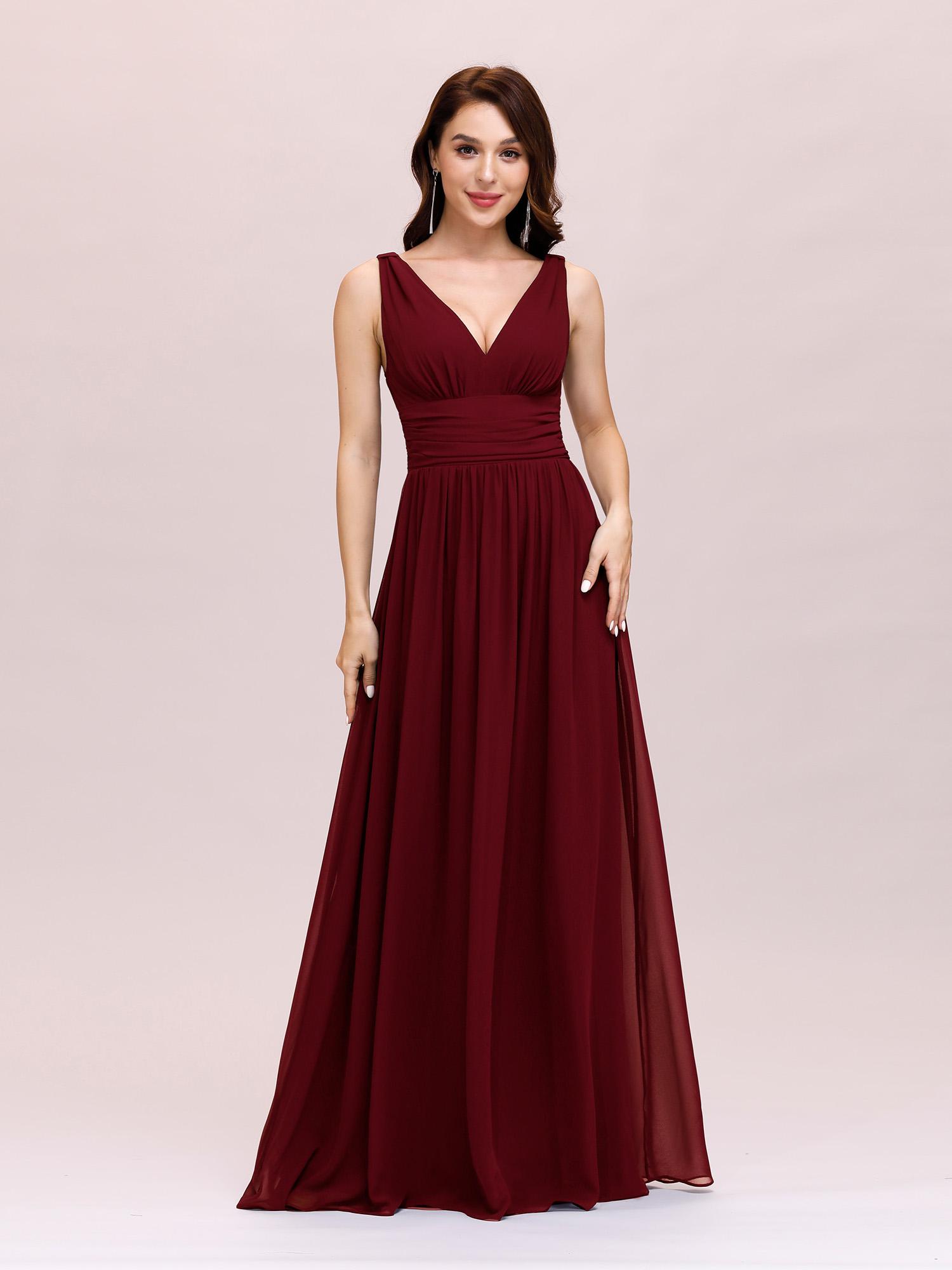Ever-Pretty Hot Long Chiffon Evening Dresses Bridesmaid V-neck Prom ...