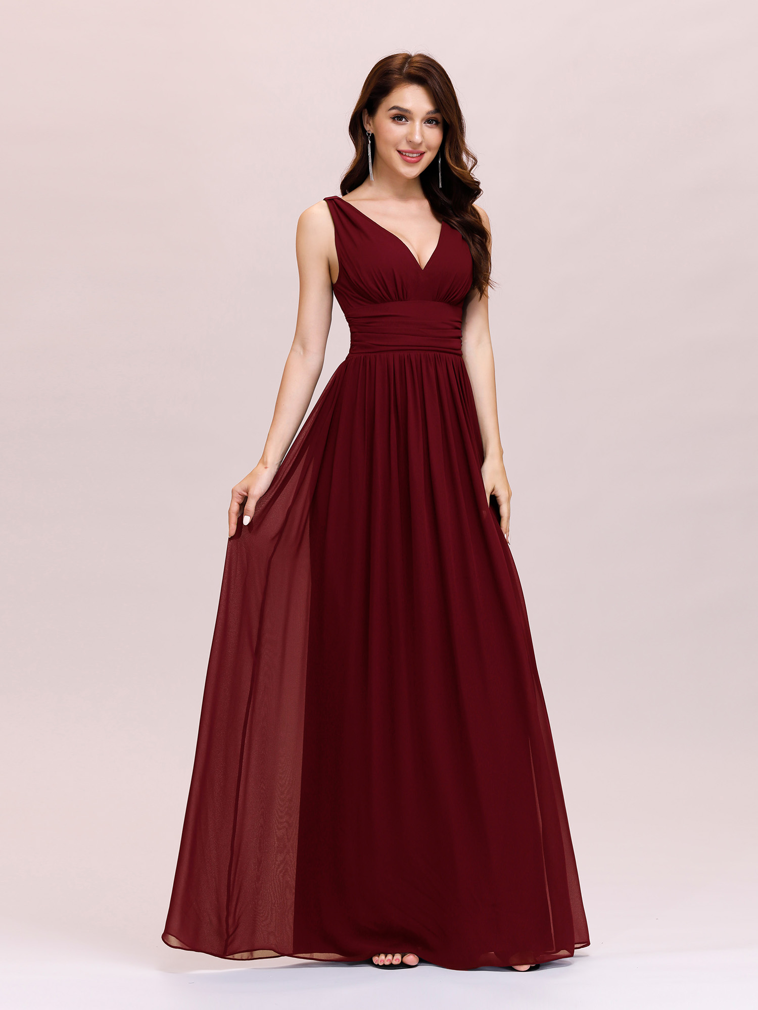 classic fit sale preview of Details about UK Ever-Pretty Double V-Neck Evening Gowns Maxi Long  Bridesmaids Dresses 09016