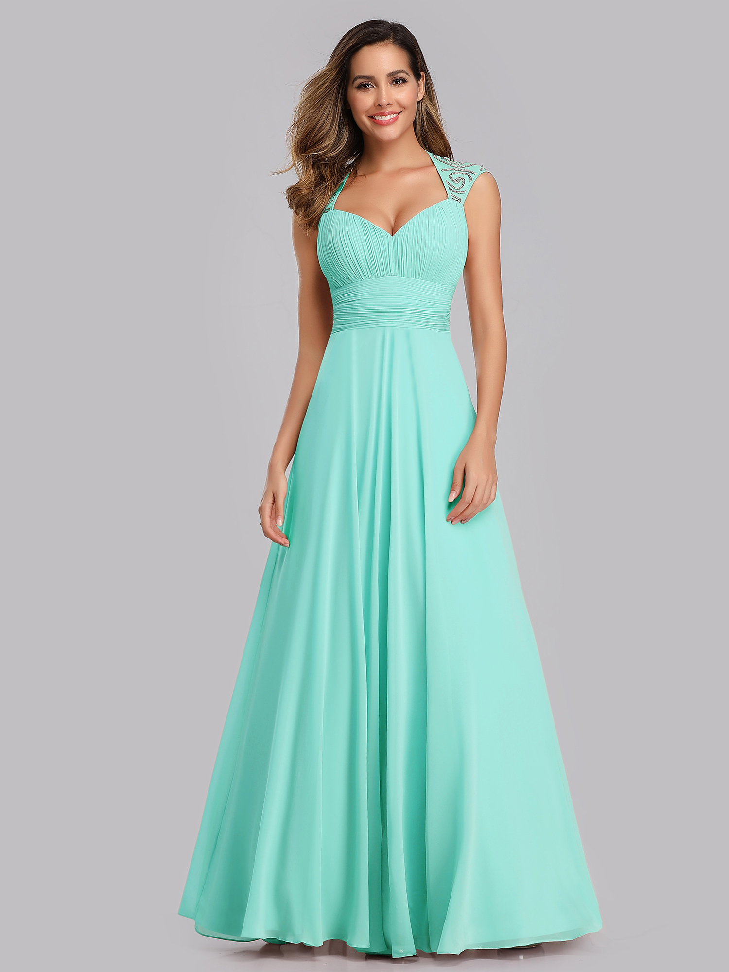 Cap Sleeve Bridesmaid Dress Long V-neck Evening Party Dresses 09672 ...