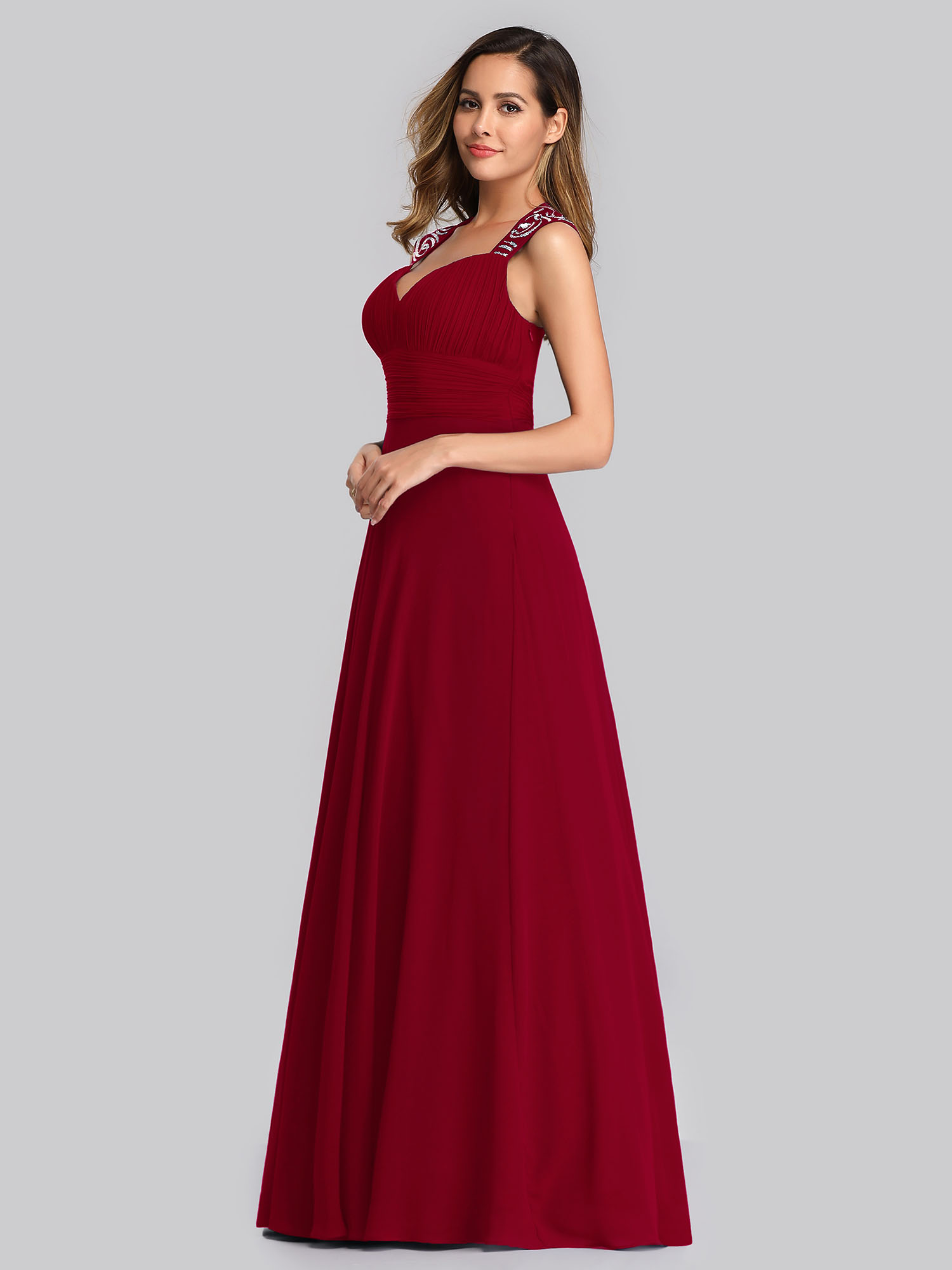 Ever-Pretty-Cap-Sleeve-Bridesmaid-Dresses-Elegant-Long-V-neck-Evening-Gown-09672 thumbnail 43